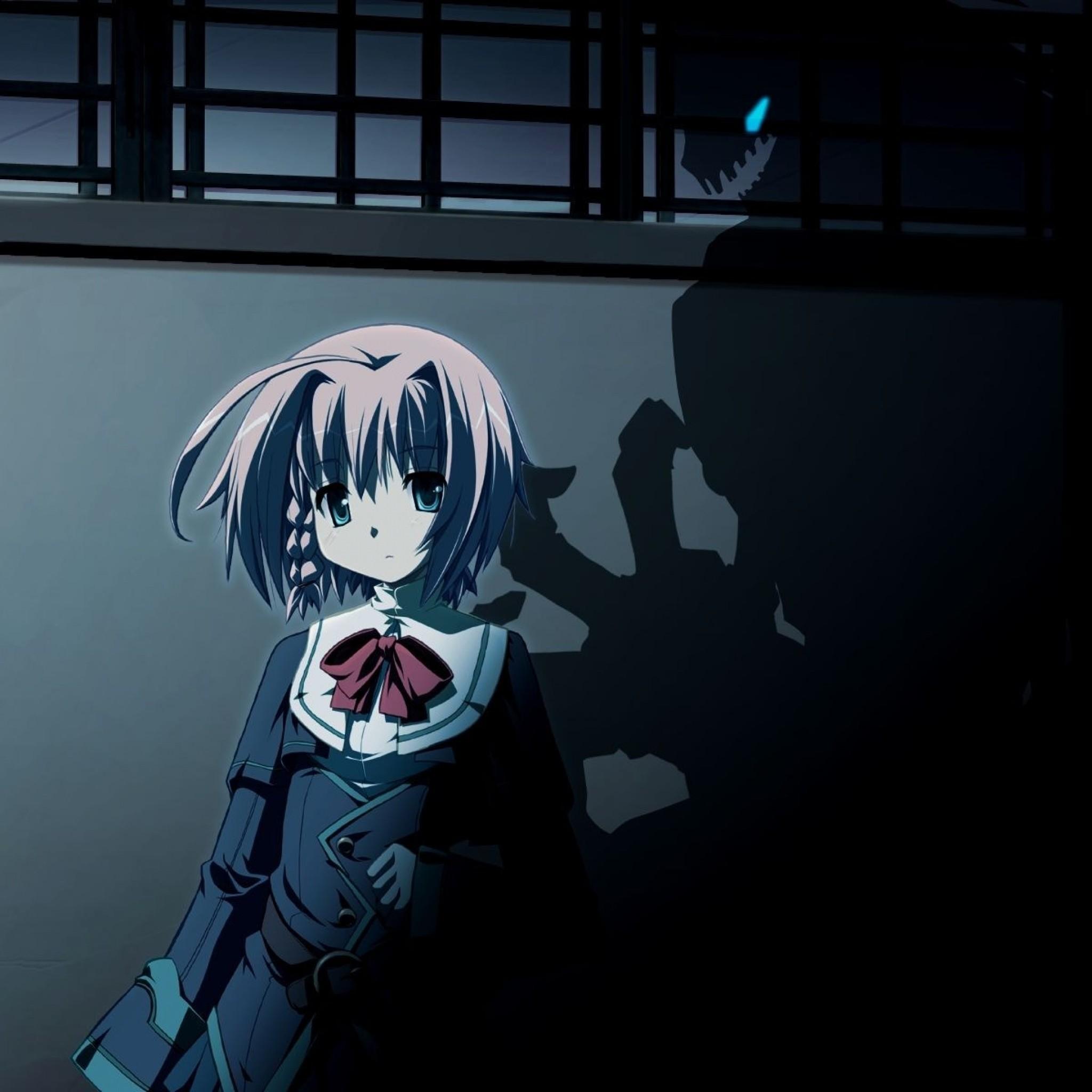 Wallpaper anime, girl, young, dark, shadow
