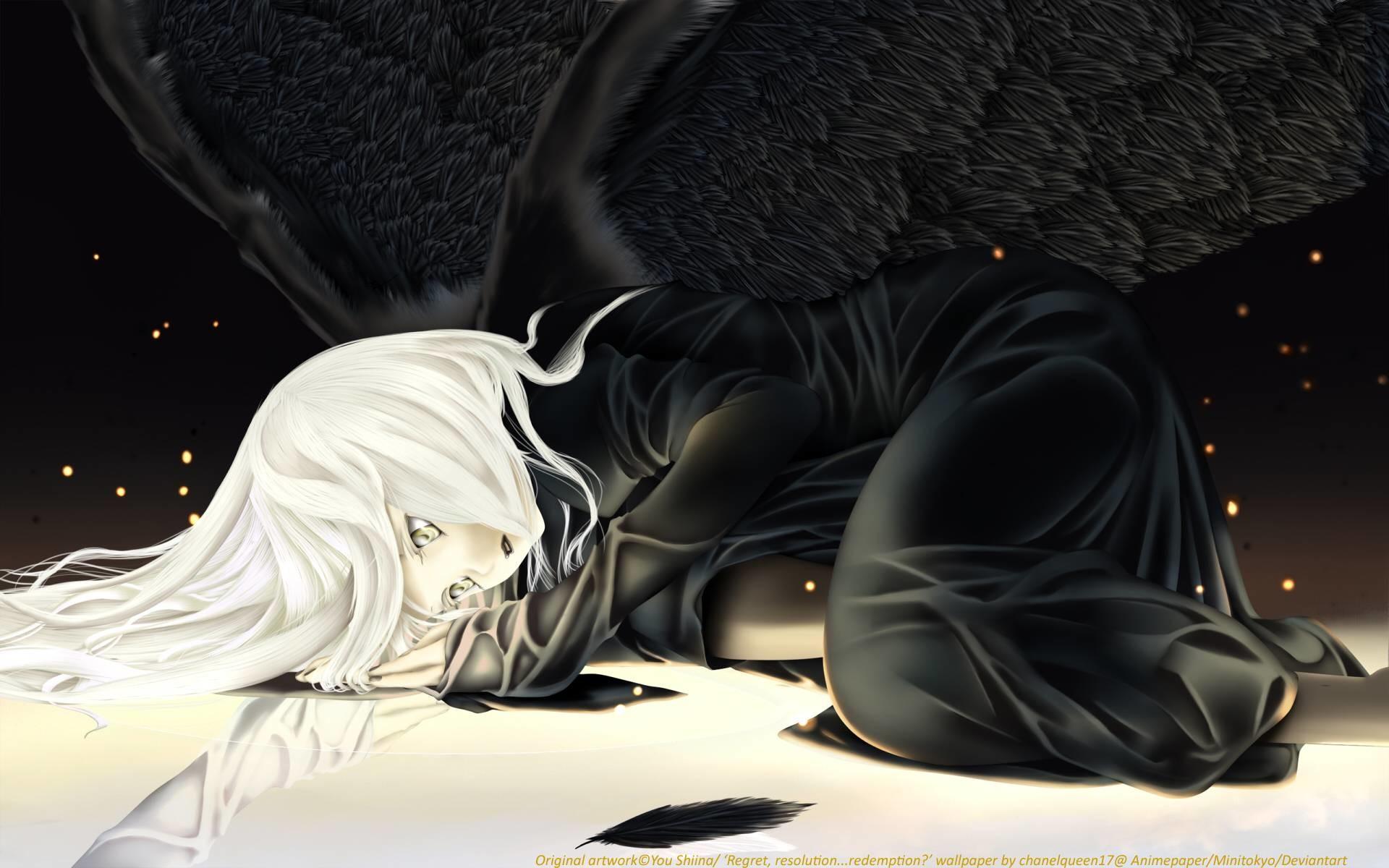 anime anime manga images wallpapers angel with black wings tweet
