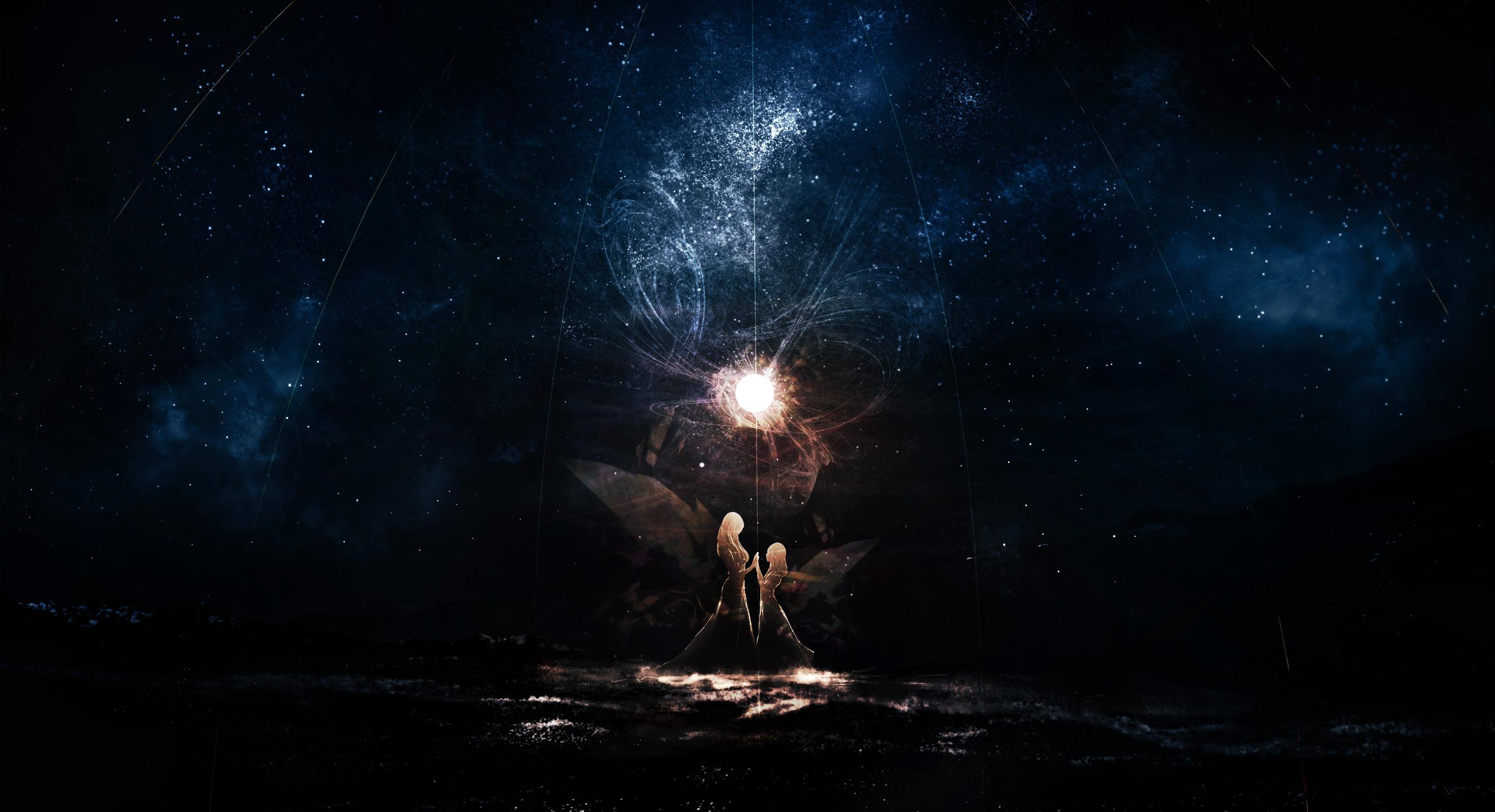 – anime girls, magic, stars, reflection, dark # original  resolution