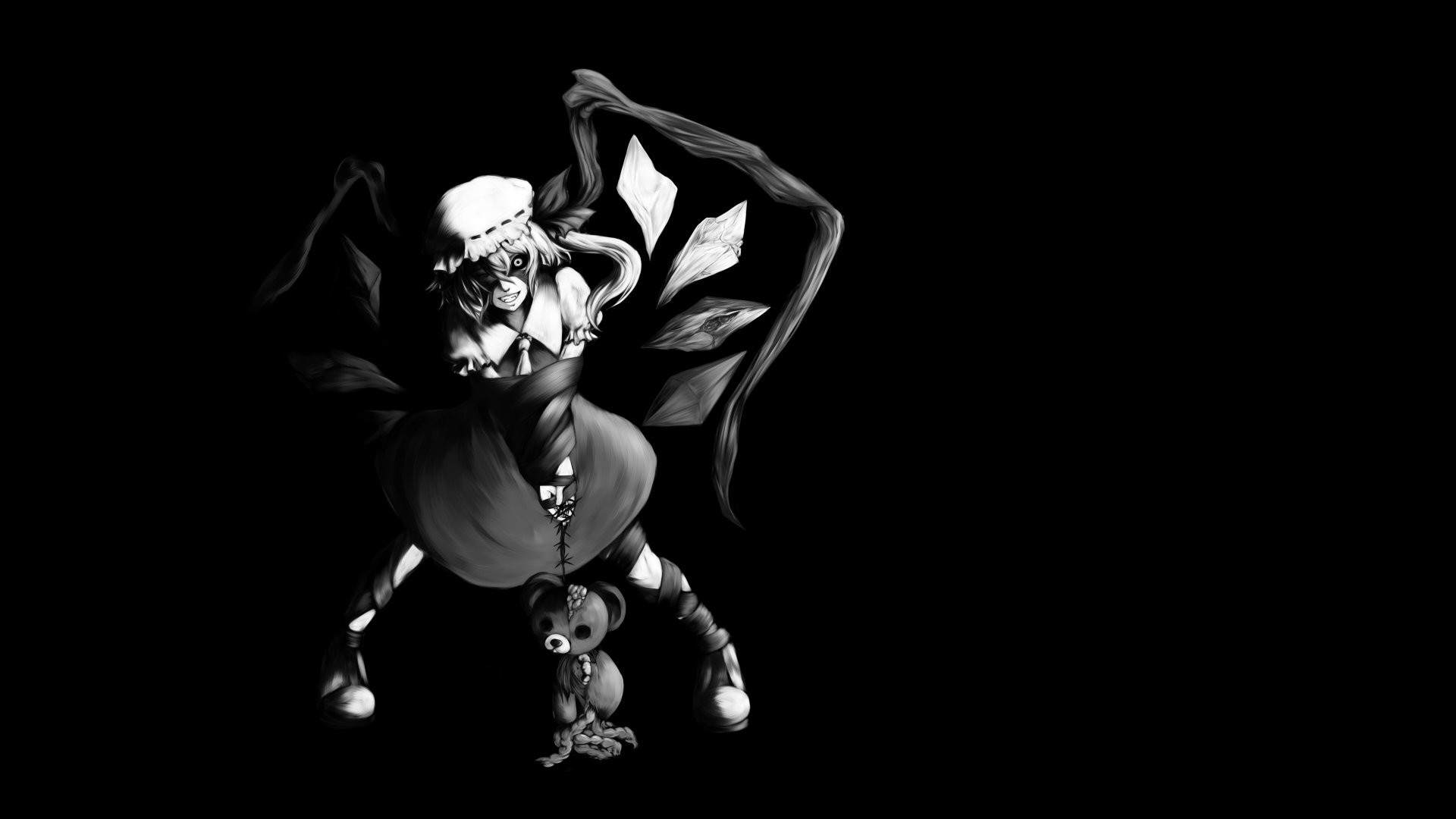 black and white video games Touhou wings black dark dress long hair  vampires crystals stuffed animals