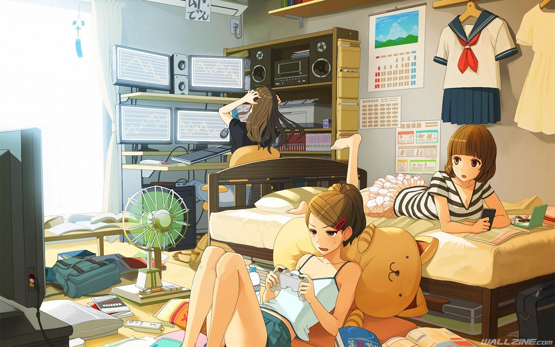 Anime Girls Room Wallpaper