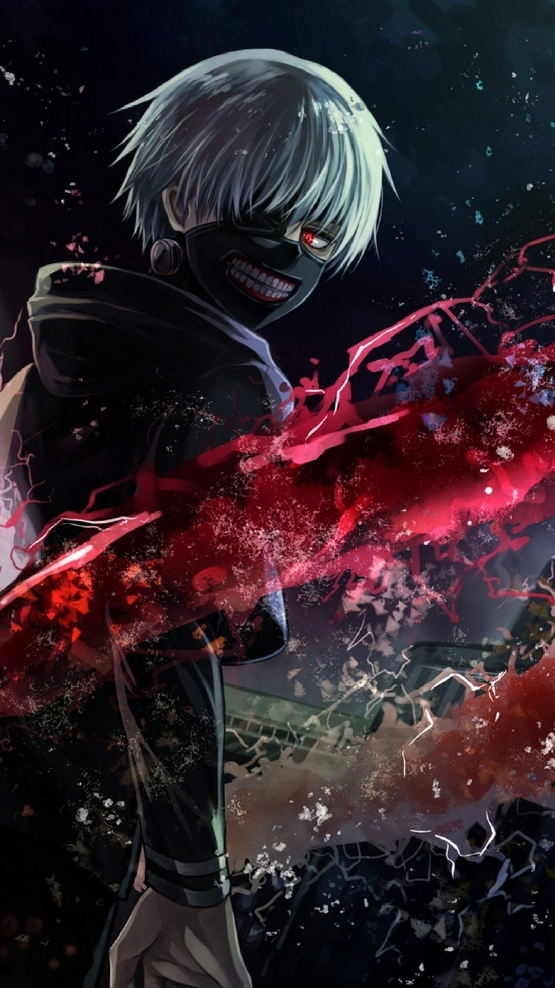 Preview wallpaper tokyo ghoul, kaneki ken, man, mask, magic, art 1080×1920