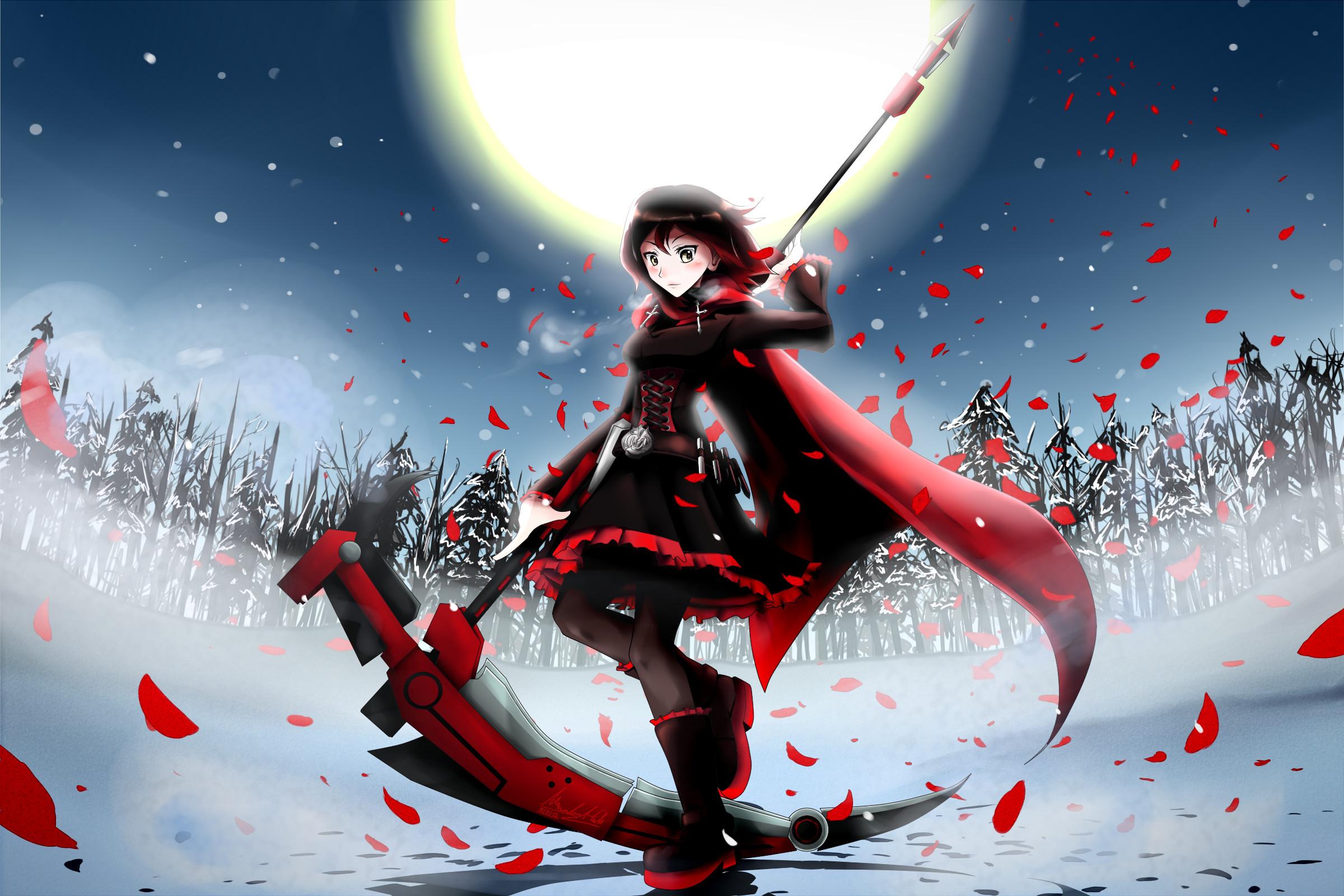 anime girls autumn belt black hair boots cloaks corset cross flower petals  flowers fog forest gray