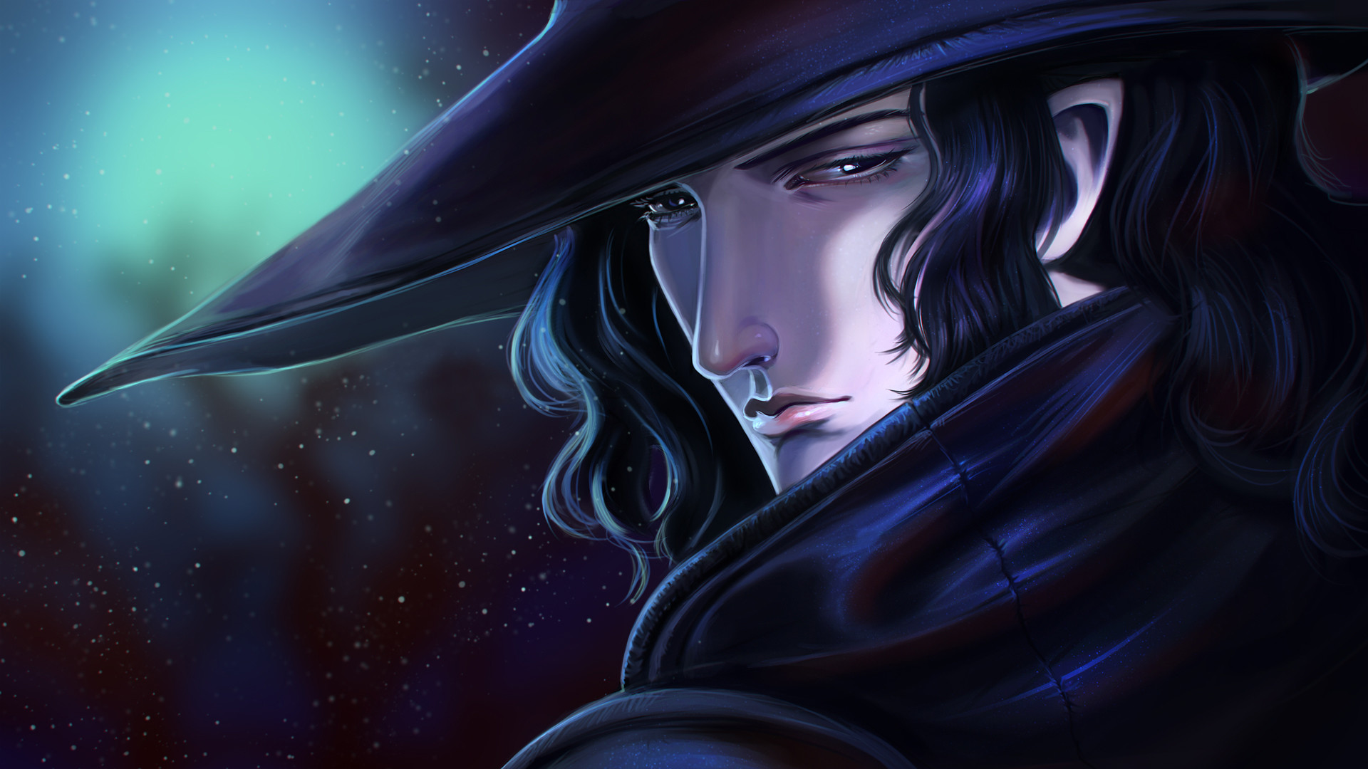 vampire hunter d face wide hat