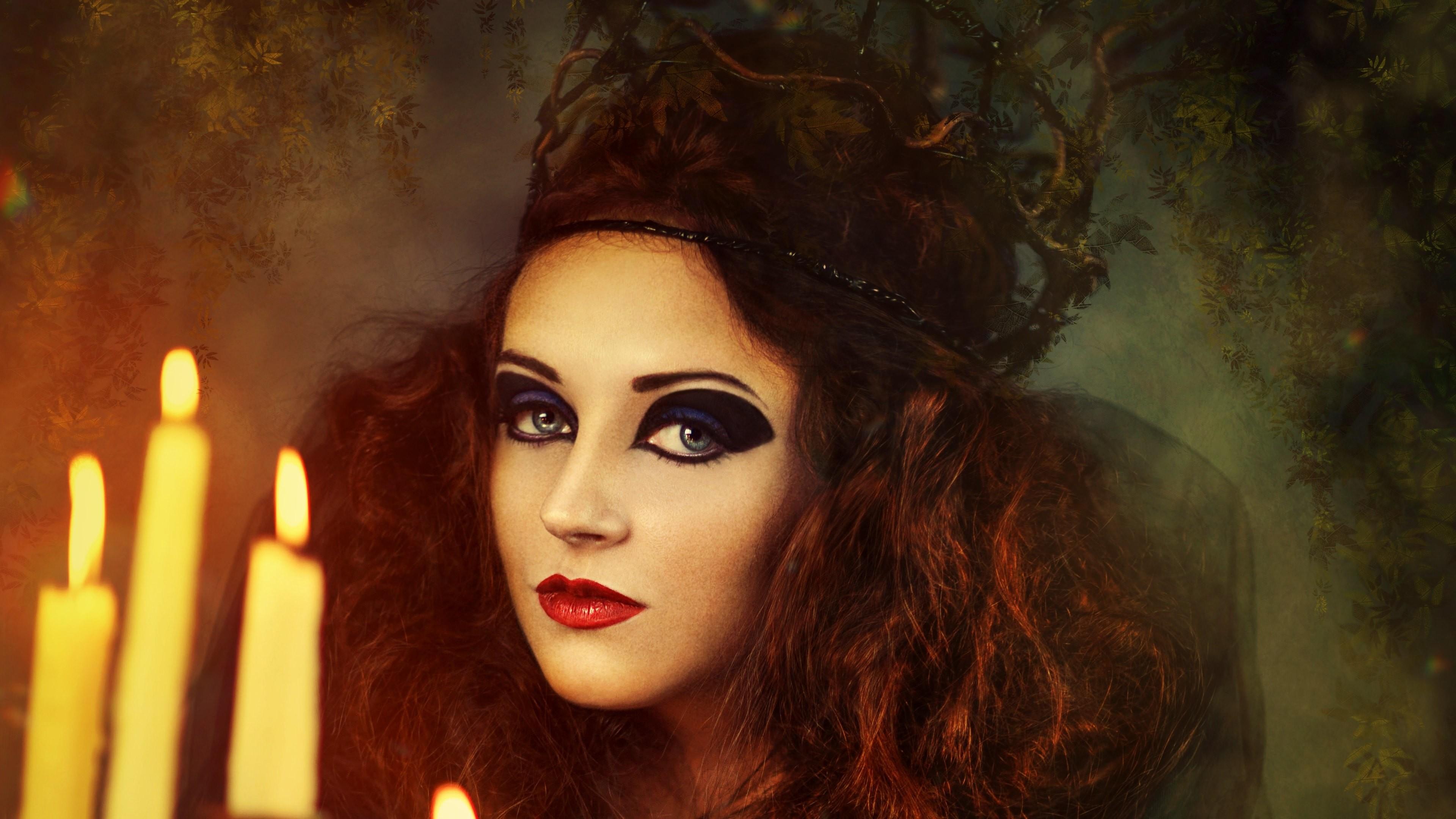 Wallpaper: Witch. Vampire. Girl Halloween Costume. Ultra HD 4K 3840×2160