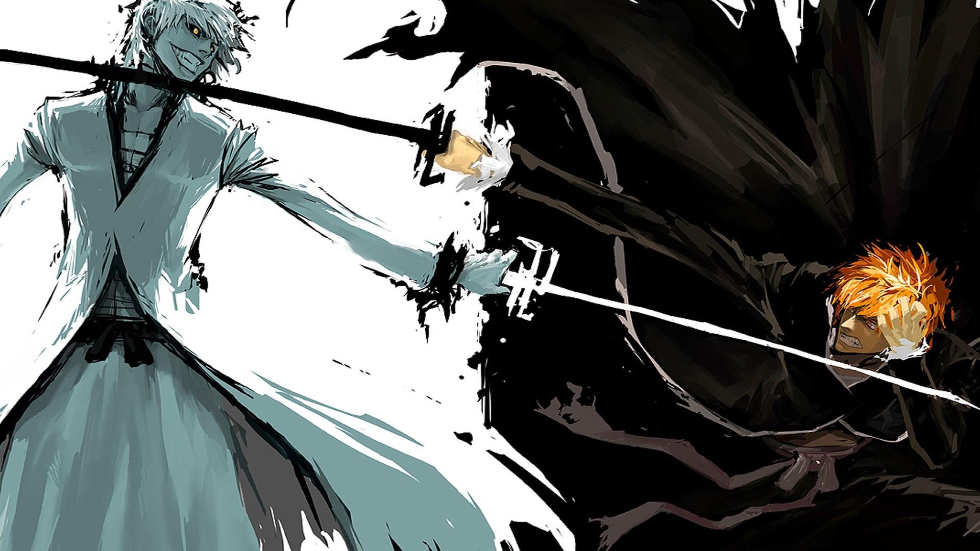 Bleach, Sketches, Anime Boys, Sword, Fighting, Kurosaki Ichigo, Hollow