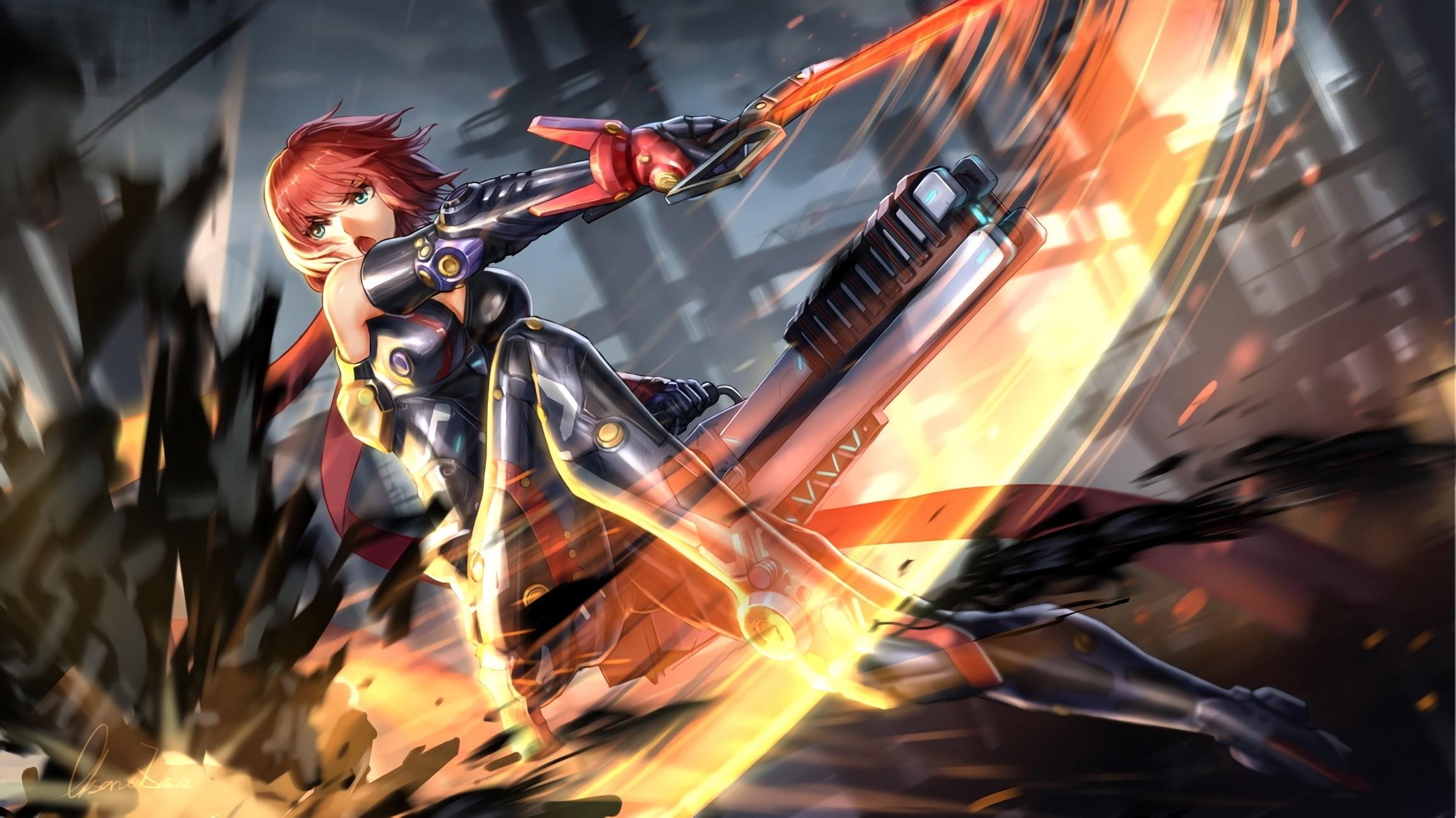 Anime Girl, Fighting, Sci-fi, Sword, Bodysuit