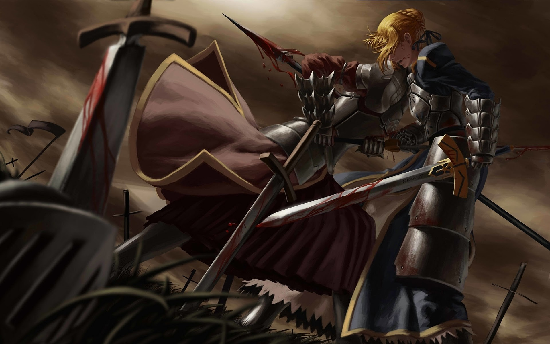 saber fighting fate stay night wallpaper anime blonde armor girl sword .