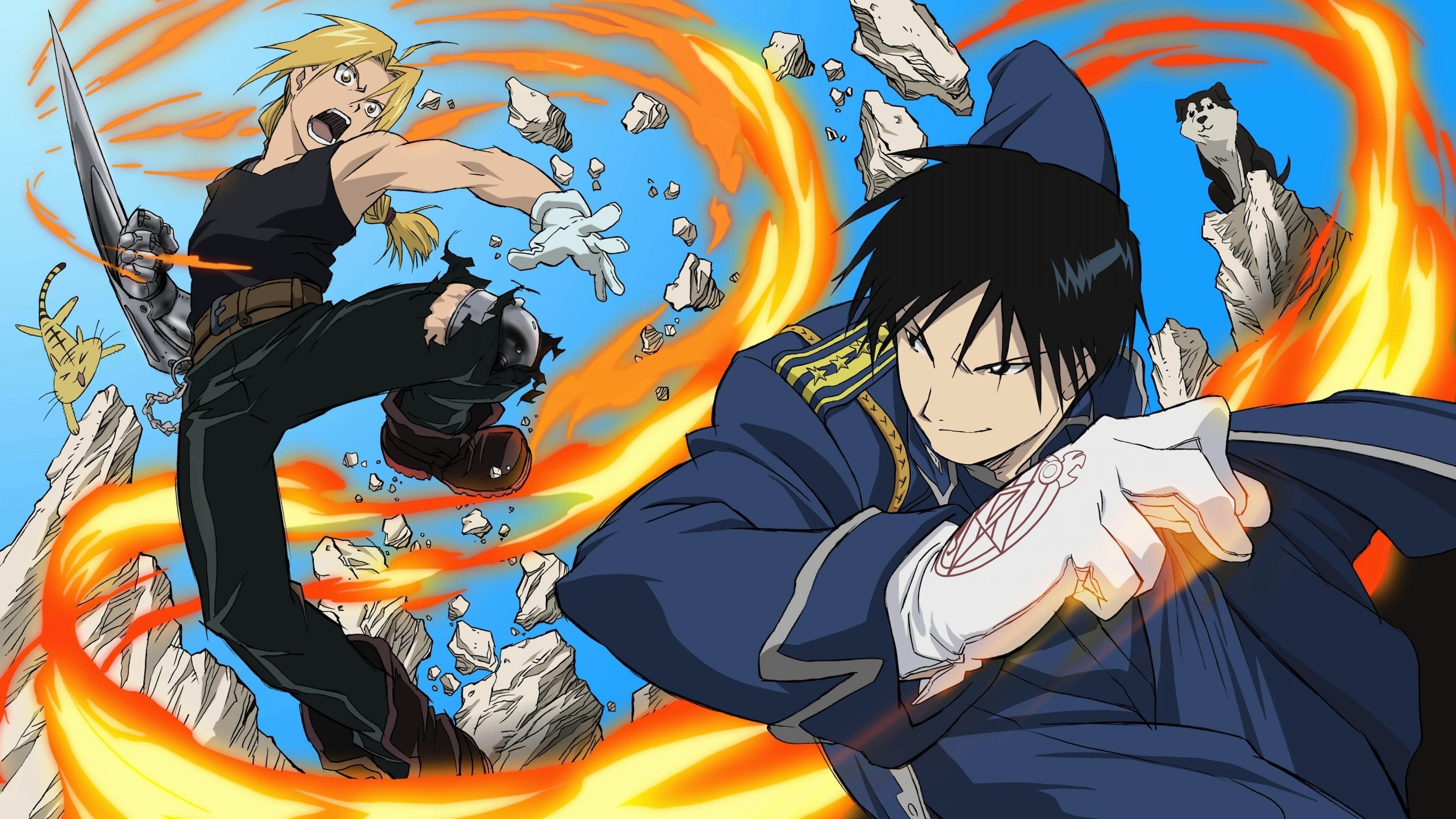 Wallpaper anime, boys, fight, fire, jump