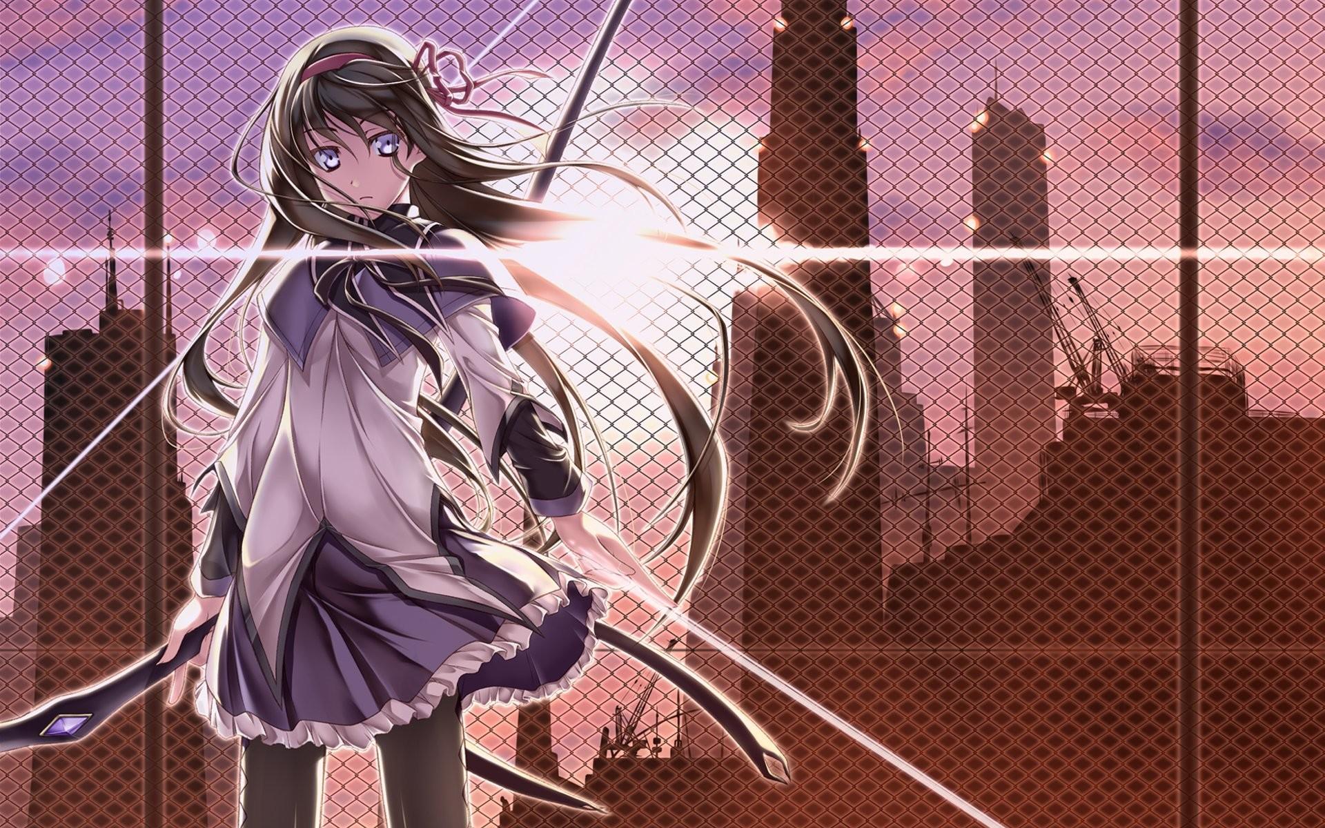 Brunettes cityscapes Mahou Shoujo Madoka Magica anime Akemi Homura anime  girls bow (weapon) wallpaper     275242   WallpaperUP