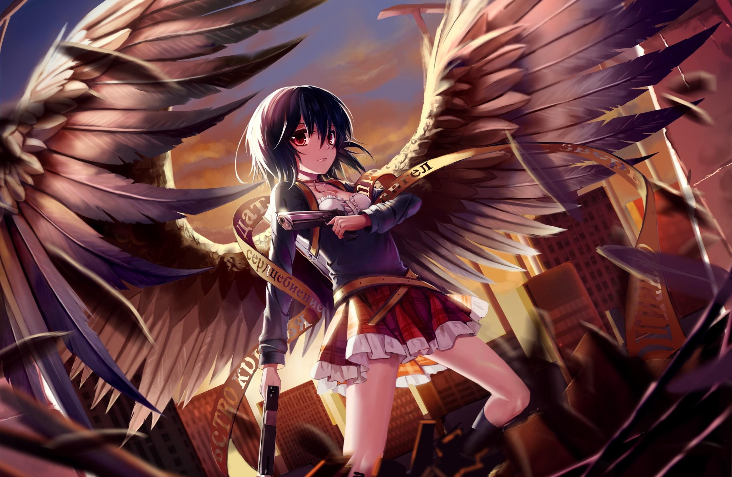 Konachan.com – 206704 black_hair boots building choker city feathers gun  kin_toki original red_eyes skirt