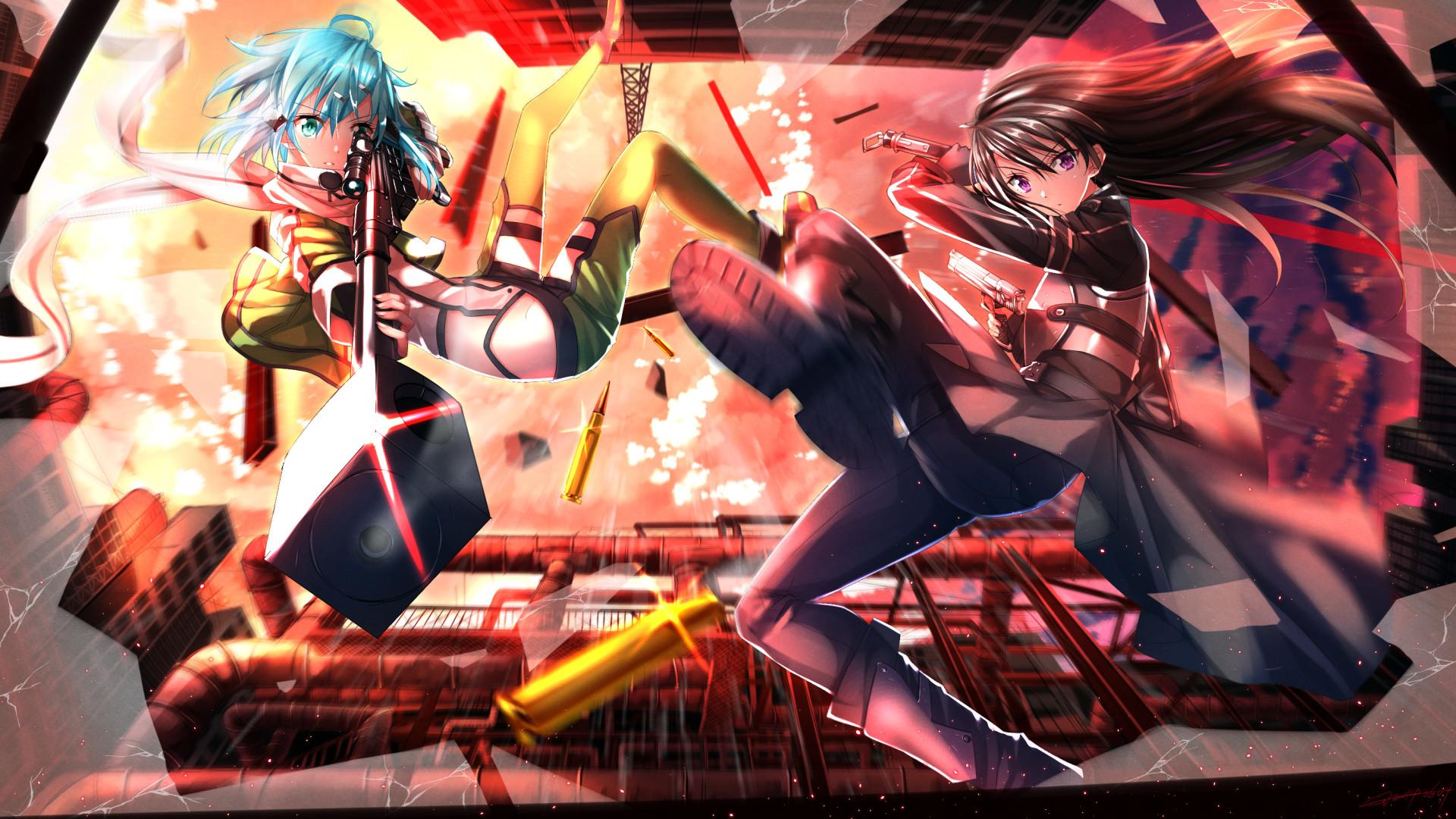 Anime Girls Asada Shino Blue Hair Broken Glass Bullets Bullet Shells Guns  Motion Blur Short Sniper Rifles Sunset Sword Art Online Swords …