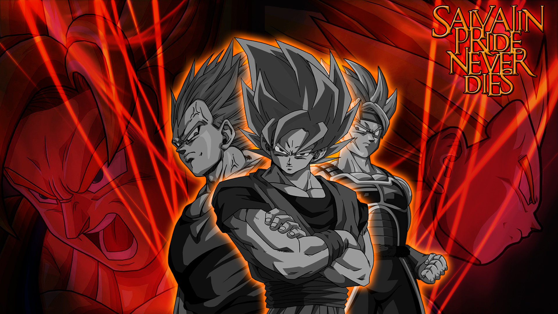 … DBZ wallpaper (Bardock, Goku and Vegeta) by ryokentou