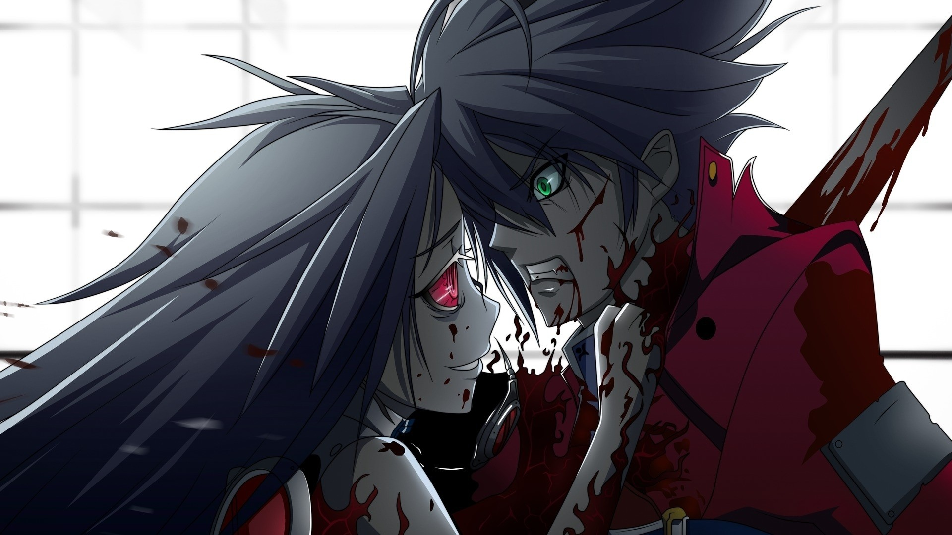 Preview wallpaper anime, blood, murder, boy, girl 1920×1080