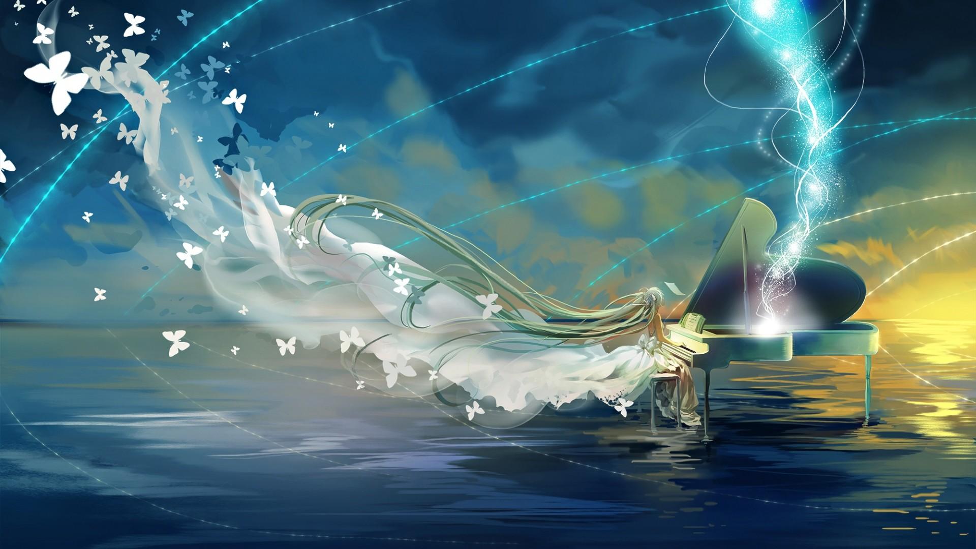 Download Wallpaper Vocaloid, Hatsune miku, Piano, Sky, Butterfly  Full HD 1080p