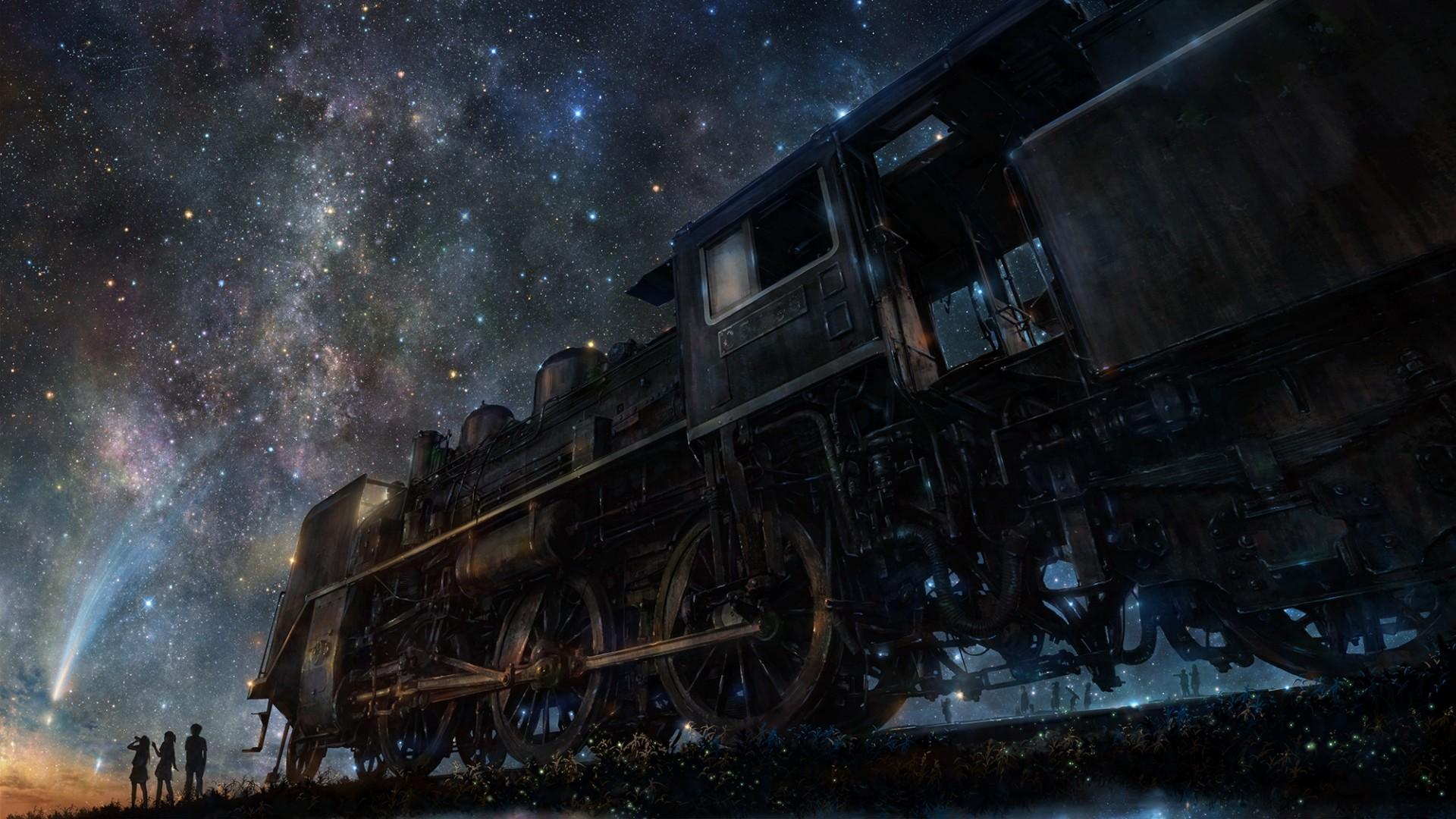 Preview wallpaper iy tujiki, art, night, train, anime, starry sky 1920×1080