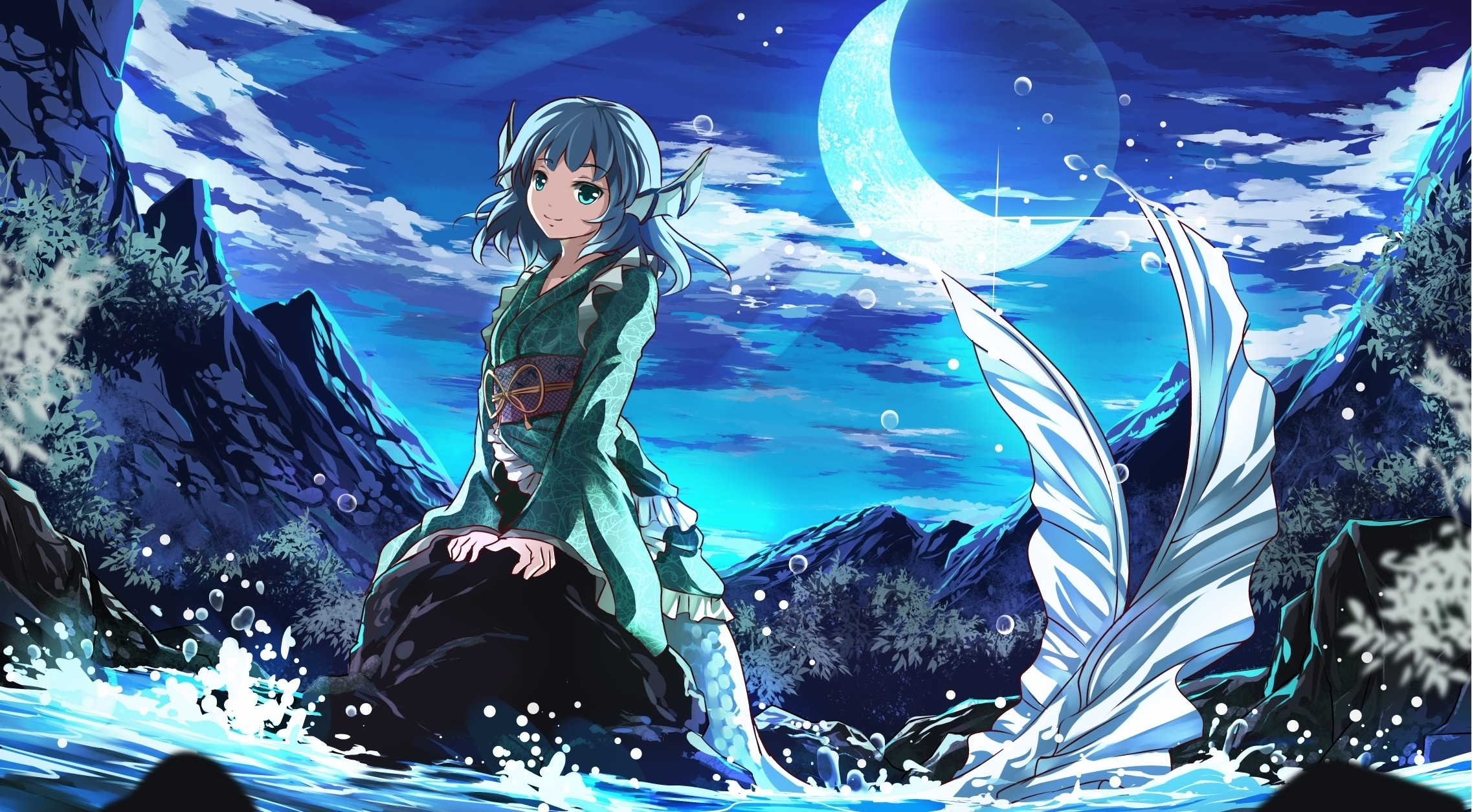 Photos Mermaid Anime Girls Fantasy Tail Moon 2274×1254
