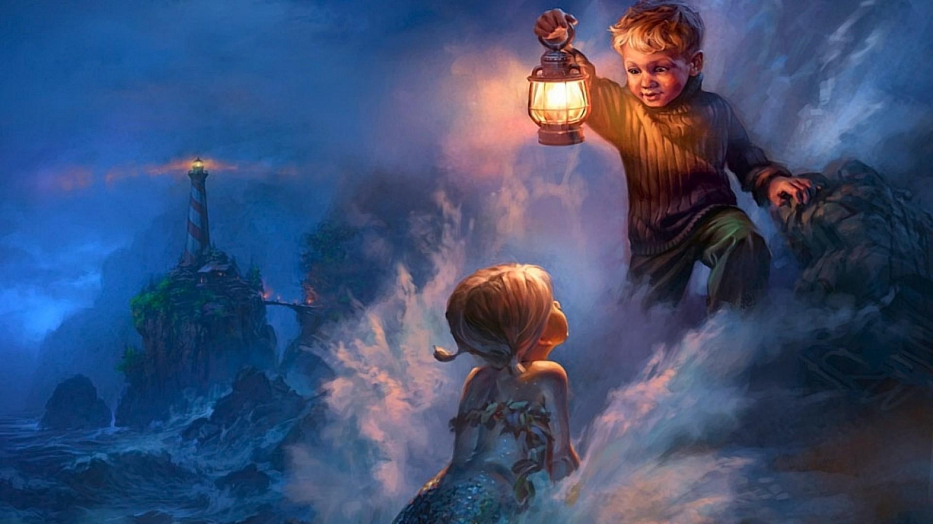 Preview wallpaper mermaid, boy, storm, lantern, coast 1920×1080