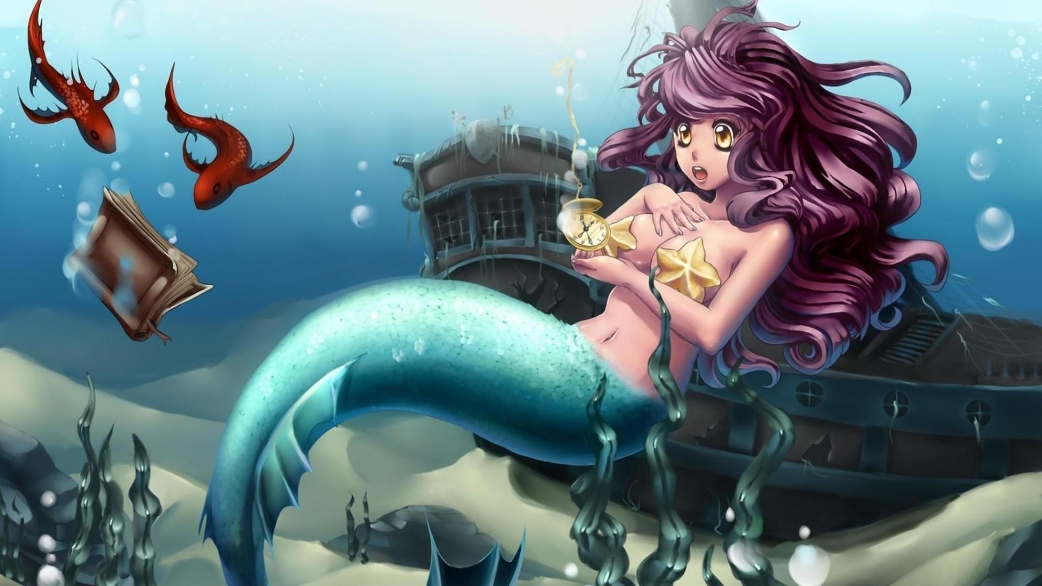 Preview wallpaper mermaid, underwater, ship, watch, book 2048×1152