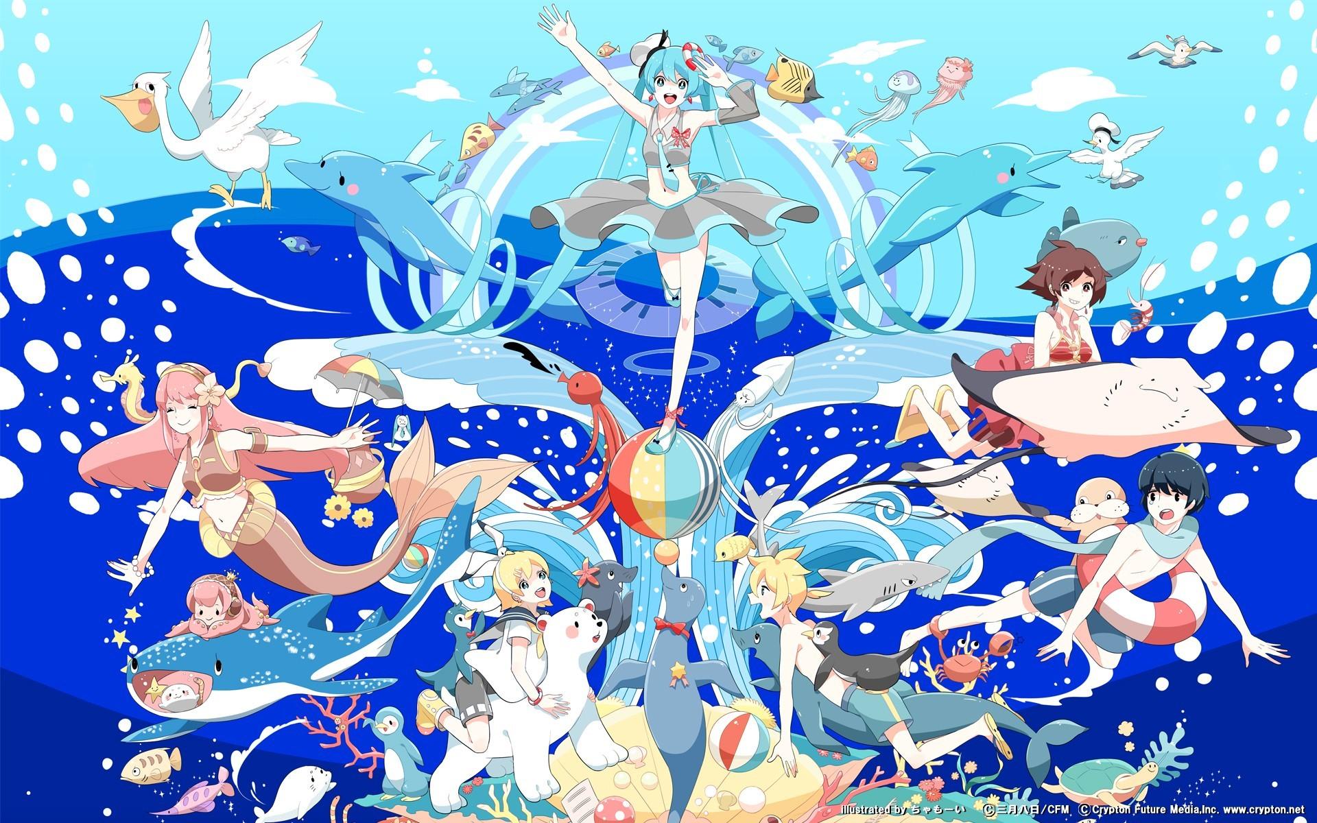 brunettes blondes water clouds Vocaloid Hatsune Miku birds blue eyes fish  Megurine Luka Kaito (Vocaloid