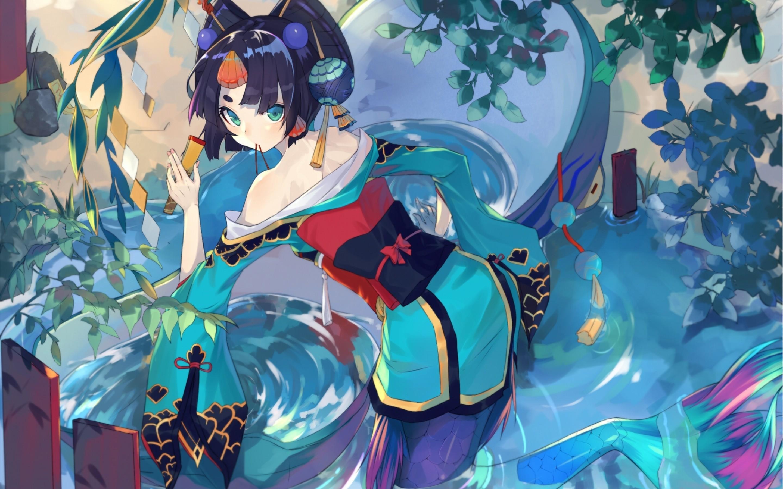 Anime Girl, Mermaid, Onmyouji, Short Hair, Japanese Clothes