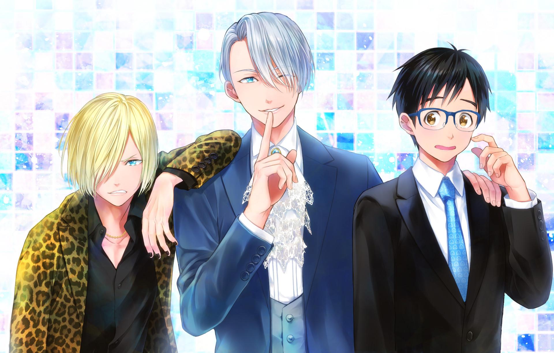 Anime – Yuri!!! on Ice Viktor Nikiforov Yuuri Katsuki Yuri Plisetsky  Wallpaper
