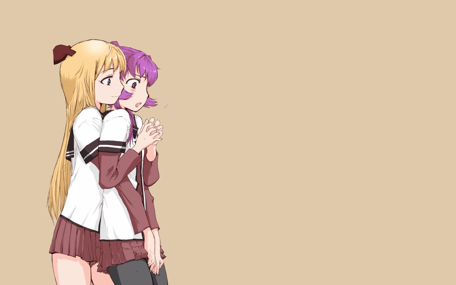 Anime Girls Blondes Blue Eyes Brown Background Hair Ornaments Long Purple  Simple Sugiura Ayano Toshinou Kyouko Yuru Yuri