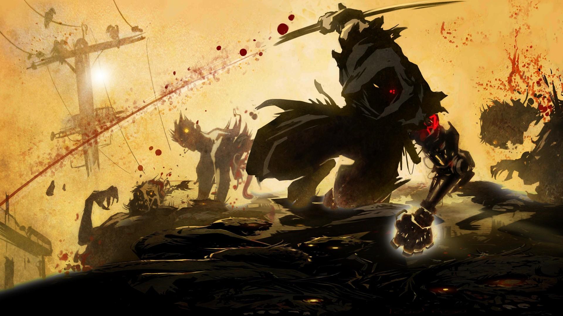 videogames anime warrior dark zombies blood wallpaper background .