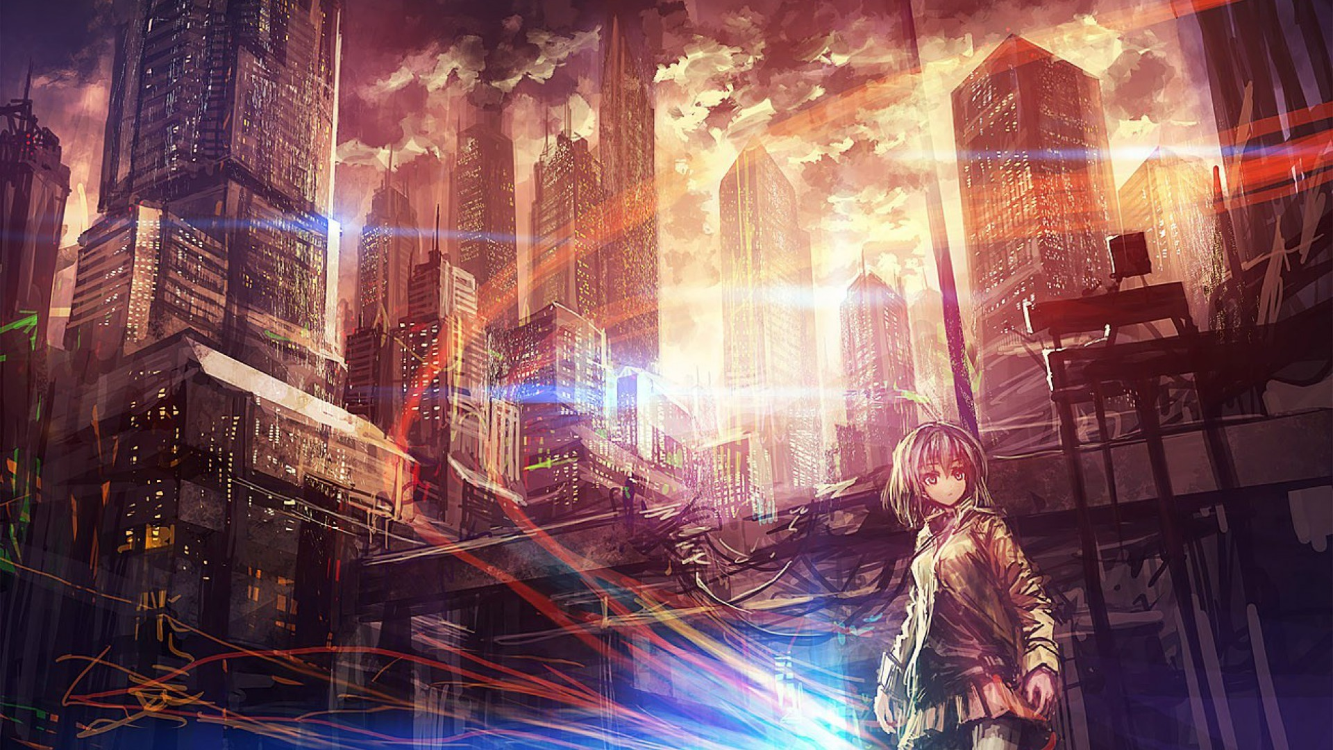 Anime City Scenery Wallpapers Background with High Definition Wallpaper  px 594.82 KB