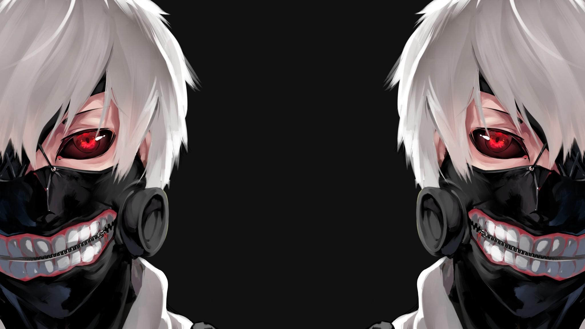 Preview wallpaper tokyo ghoul, kaneki ken, man, mask, face 2048×1152