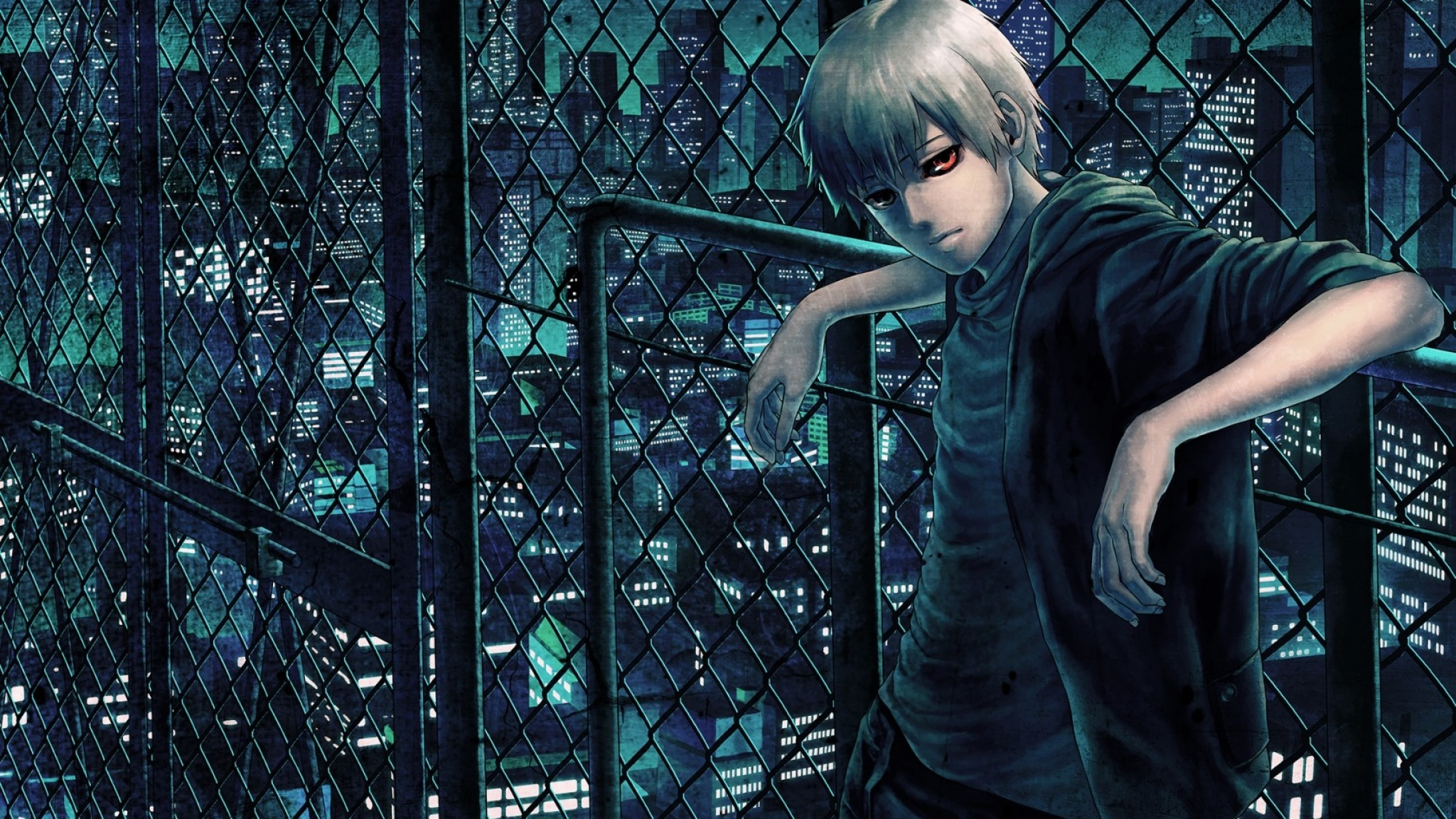 Preview wallpaper tokyo ghoul, kaneki ken, man, net, night, street 2048×1152