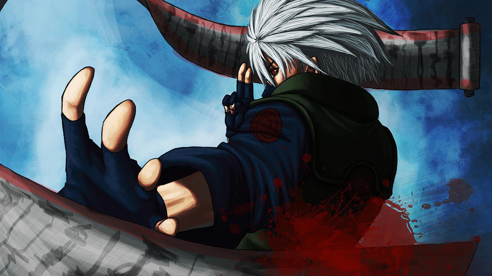 hatake kakashi sharingan eyes scroll summon anime hd
