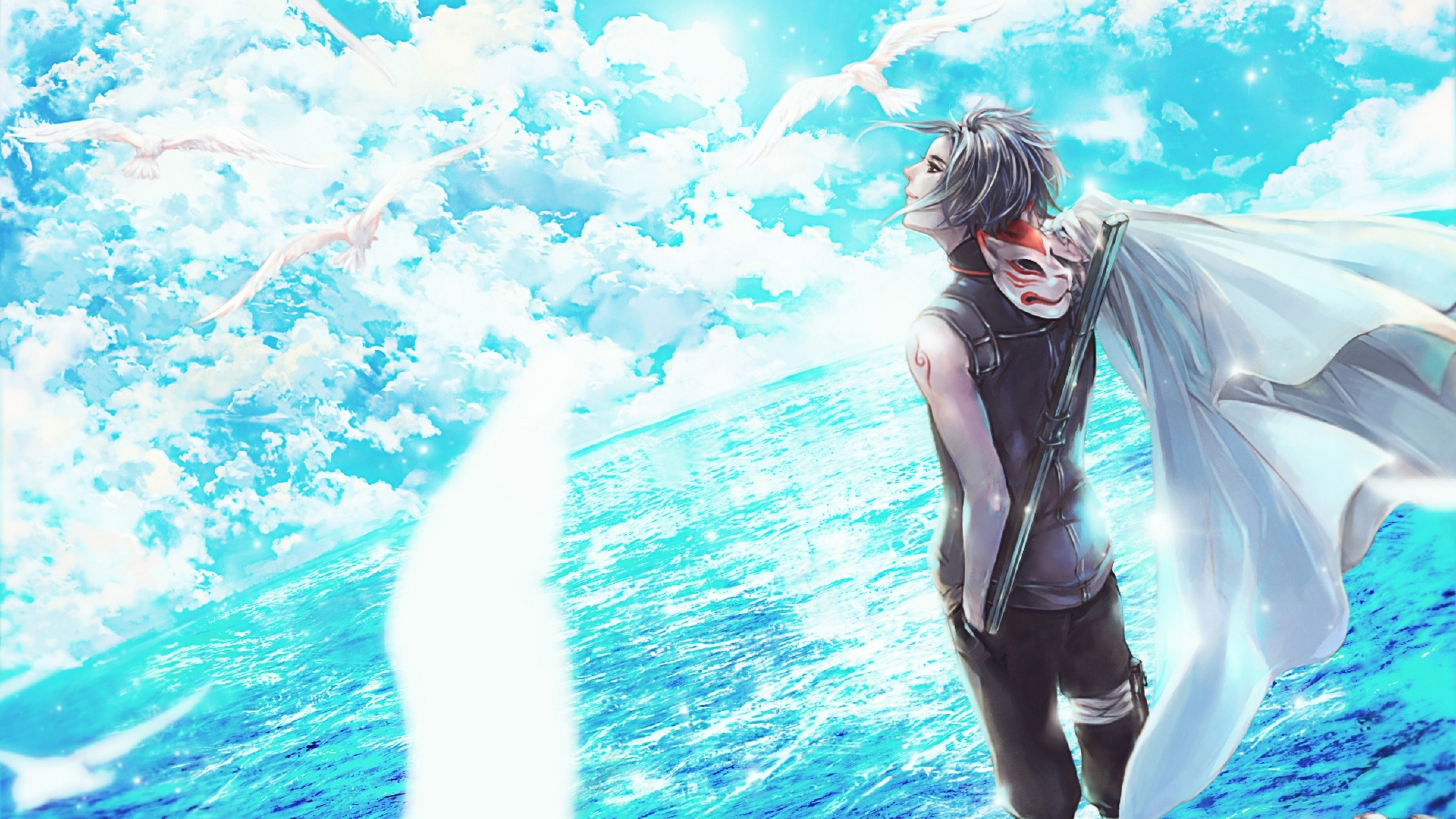 Preview wallpaper naruto, kakashi hatake, man, sea, wind 3840×2160