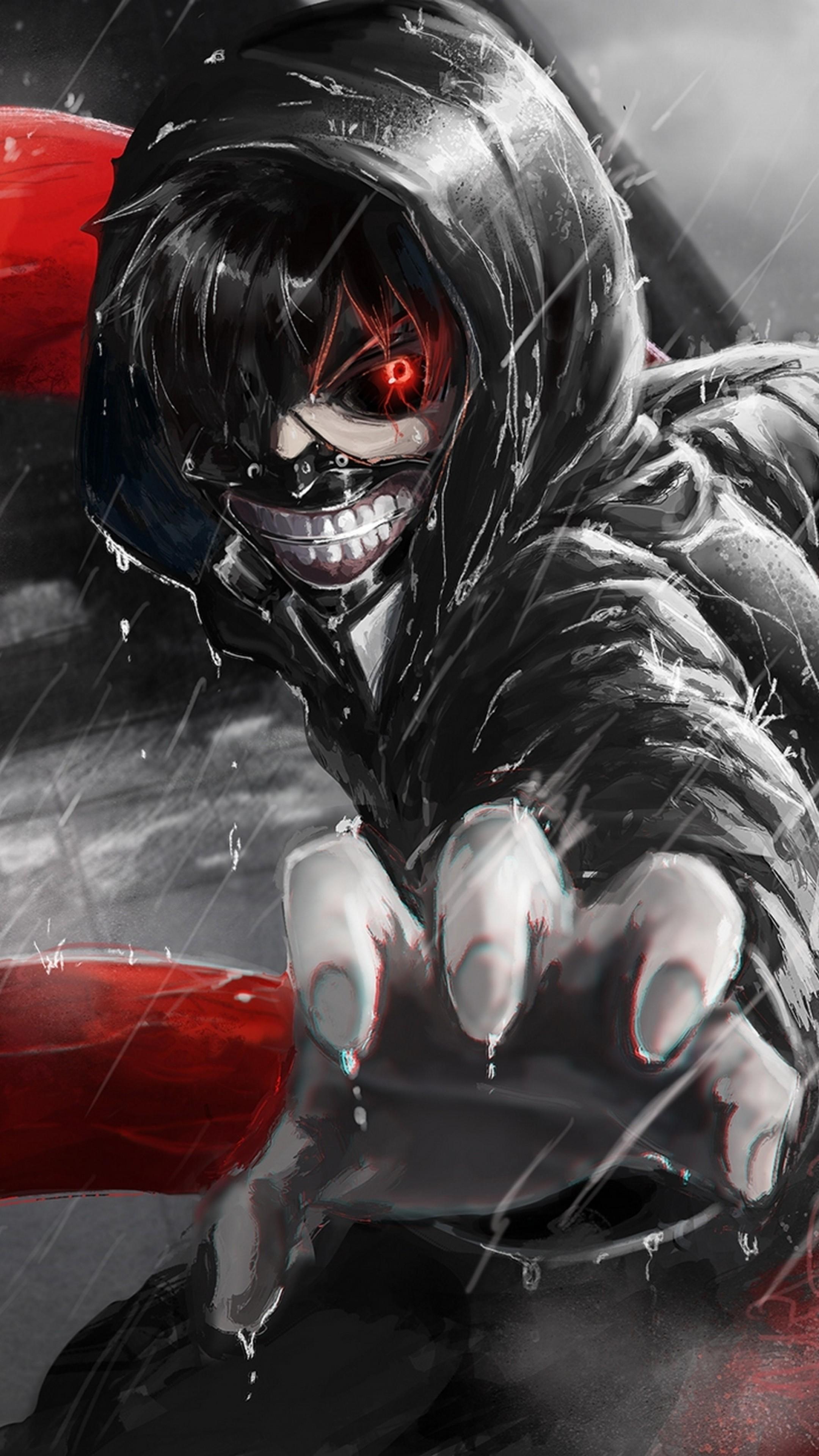 Preview wallpaper kaneki ken, tokyo ghoul, look, gesture, claw, rain  2160×3840