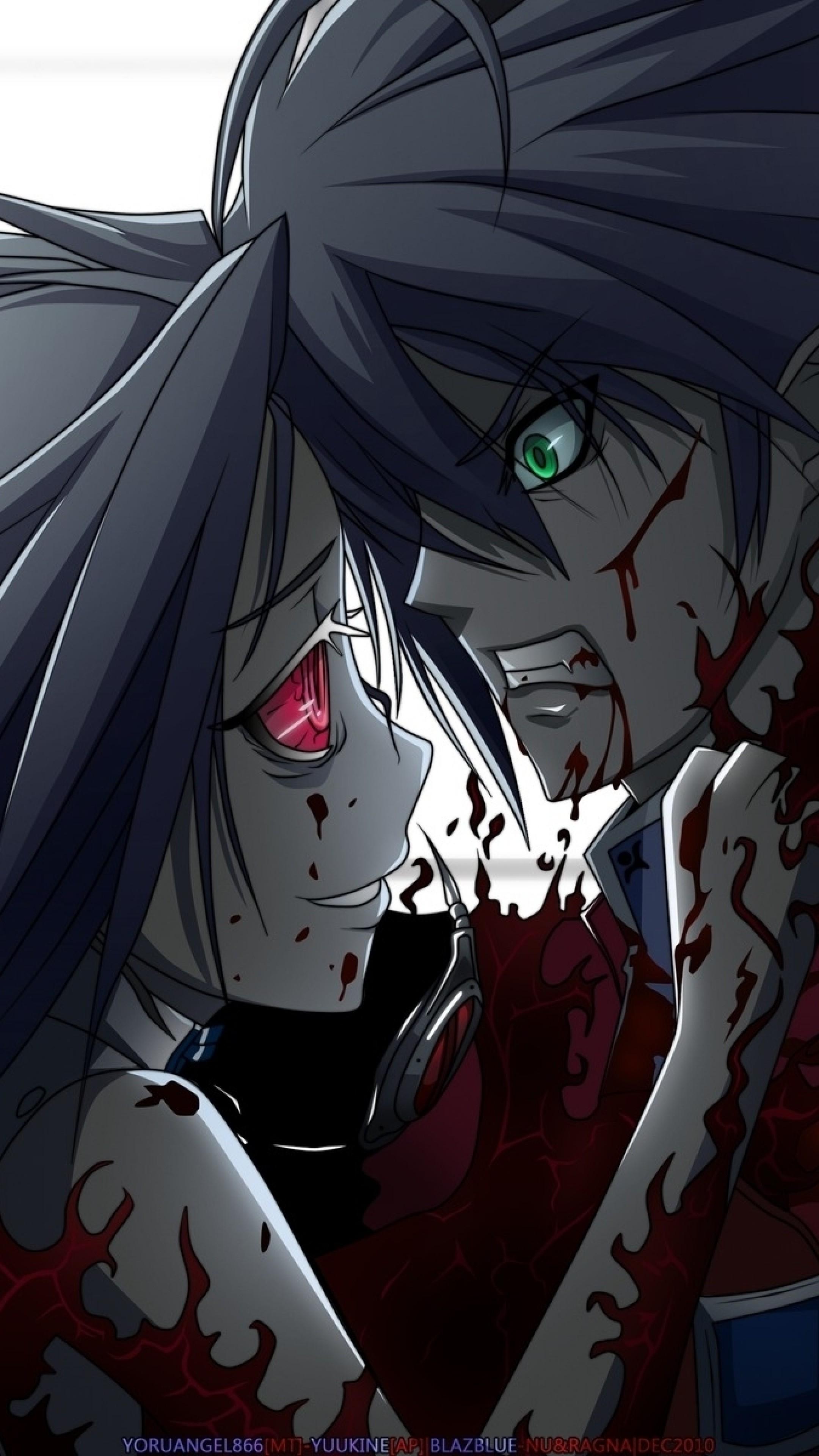 Wallpaper anime, blood, murder, boy, girl