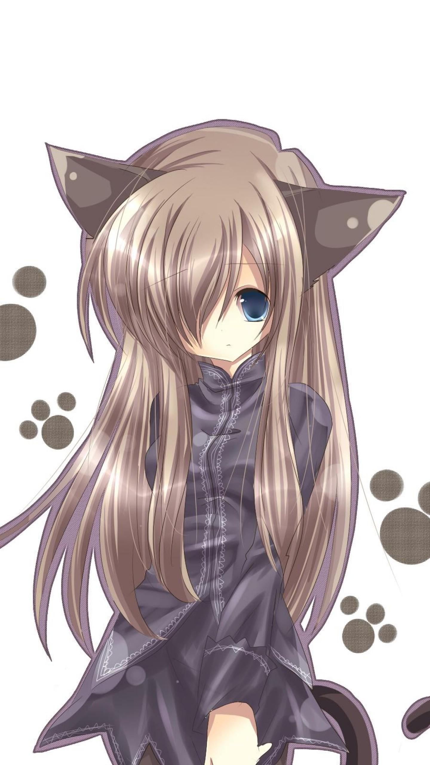 Preview wallpaper cat girl, nekomimi, art, anime, girl 1440×2560