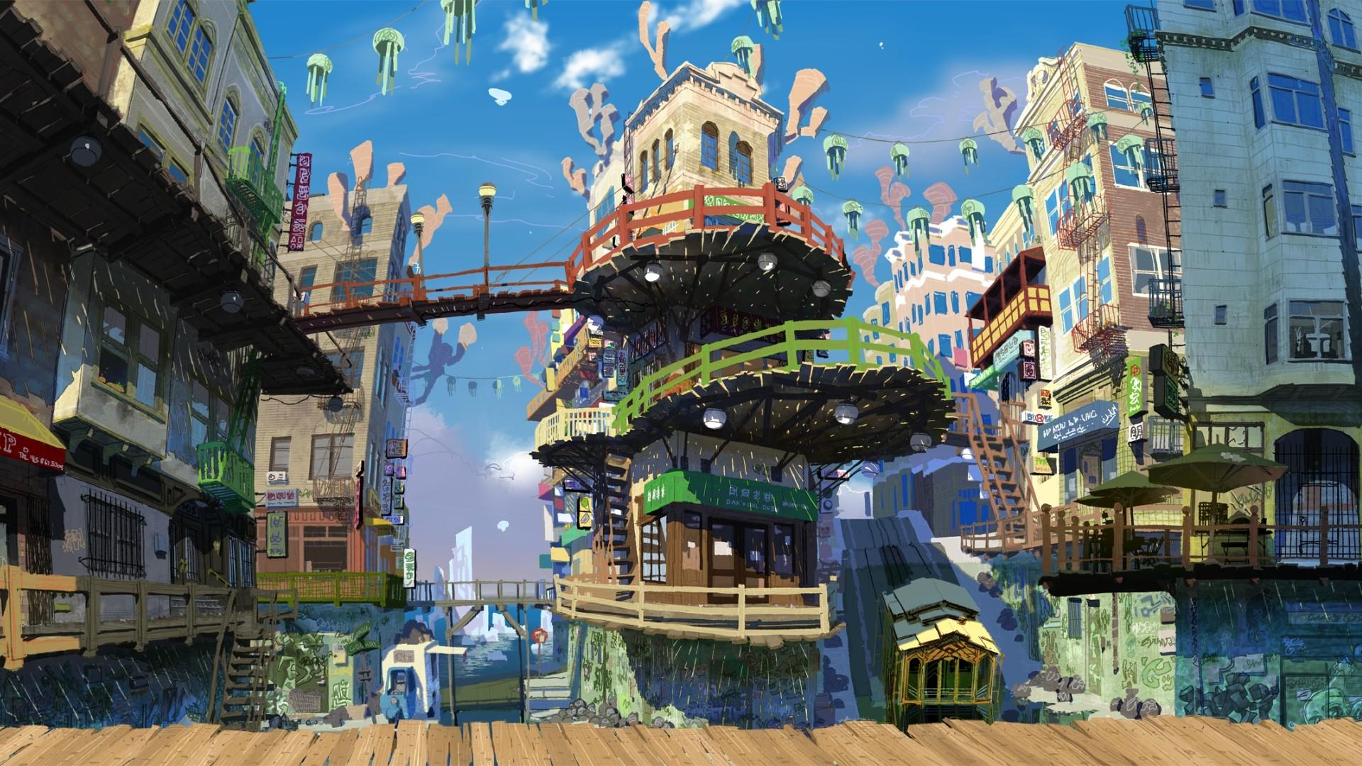 Pretty Anime City Wallpaper