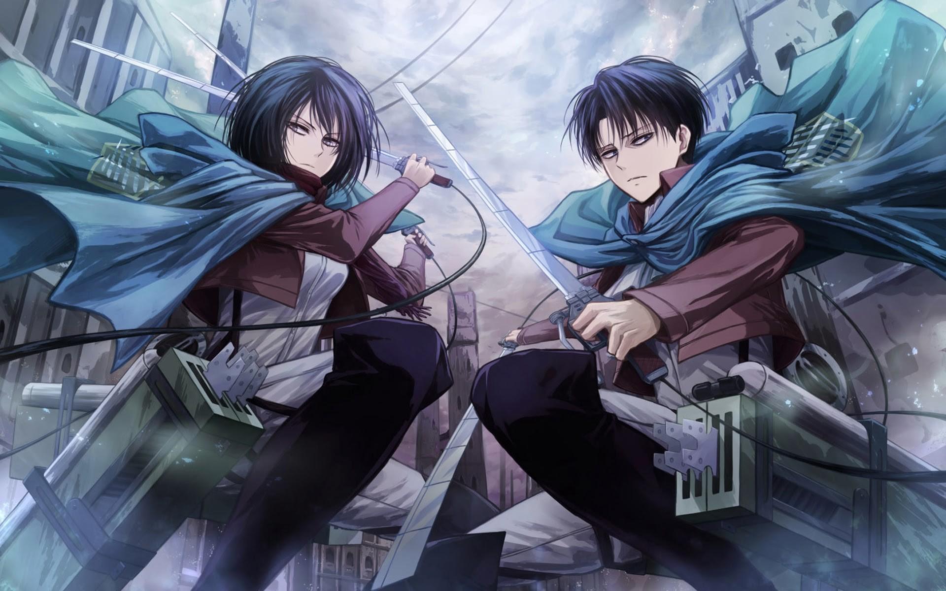 mikasa ackerman and levi anime attack on titan shingeki no kyojin .
