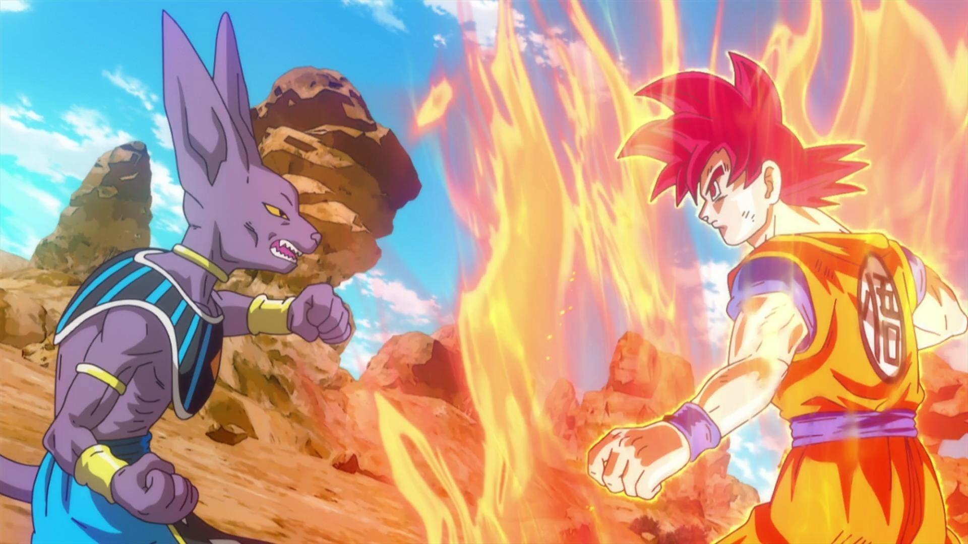 Dragon Ball Z Battle Of Gods Super Saiyan God Goku Vs Bills – HD Wallpaper  Gallery