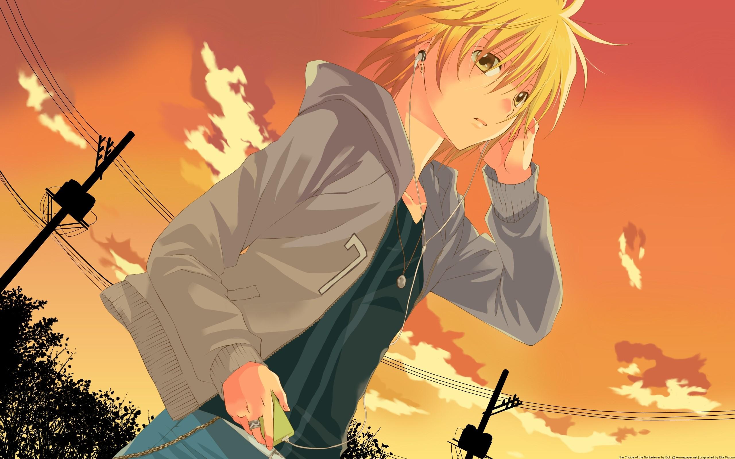 Wallpaper anime, girl, headphones, sunset, evening