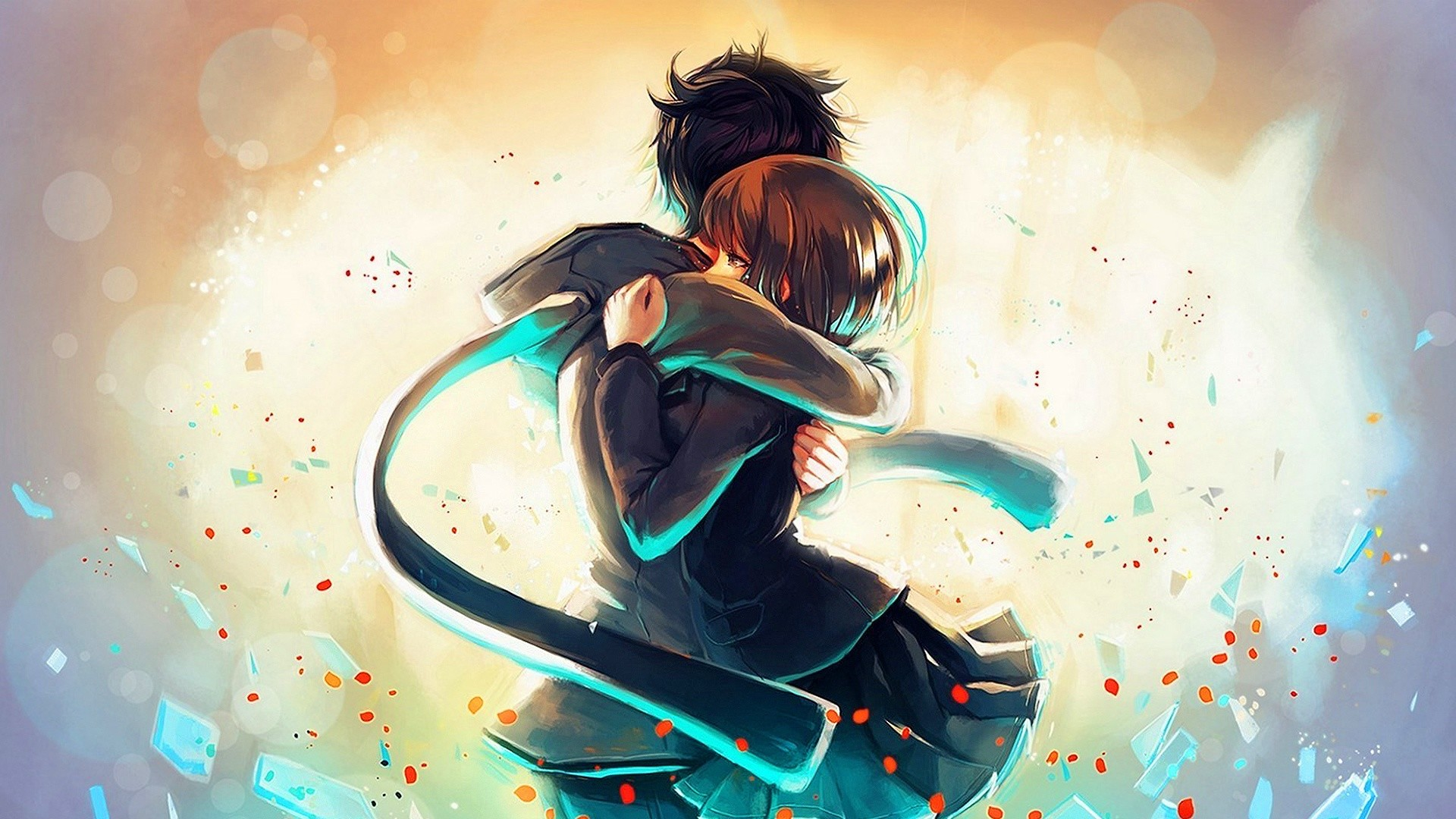 anime hug boy girl wallpaper 1920×1080