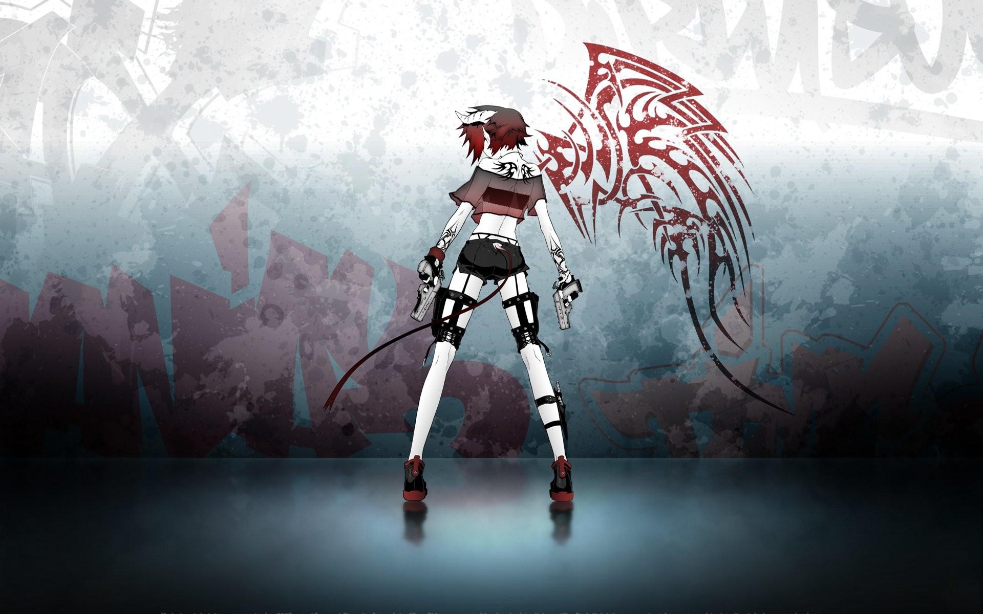 Anime Girls Demons Graffiti Grunge Guns Horns Miwa Shirow Redheads Tails  Tattoos Wings …
