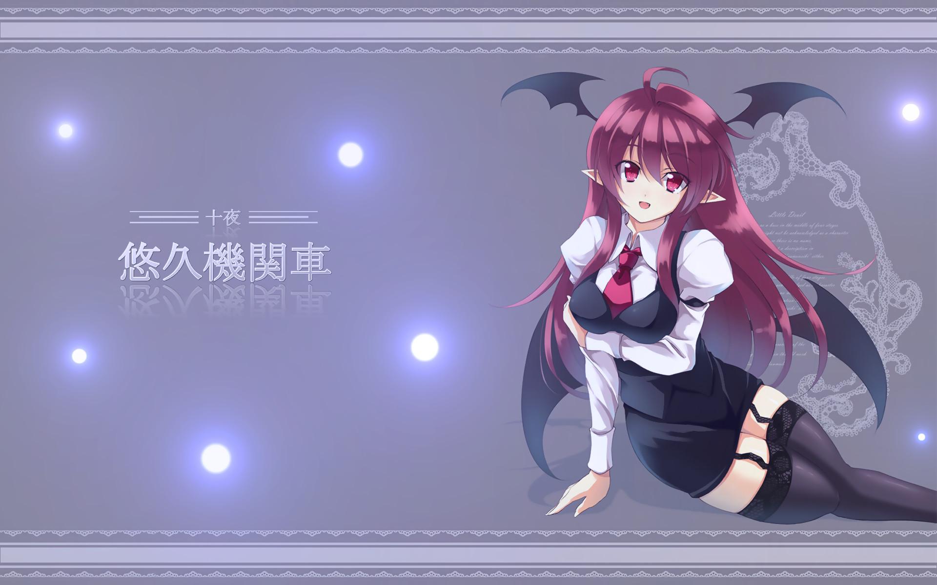 Anime – Touhou Succubus Red Eyes Red Hair Wings Thigh Highs Koakuma  (Touhou) Wallpaper
