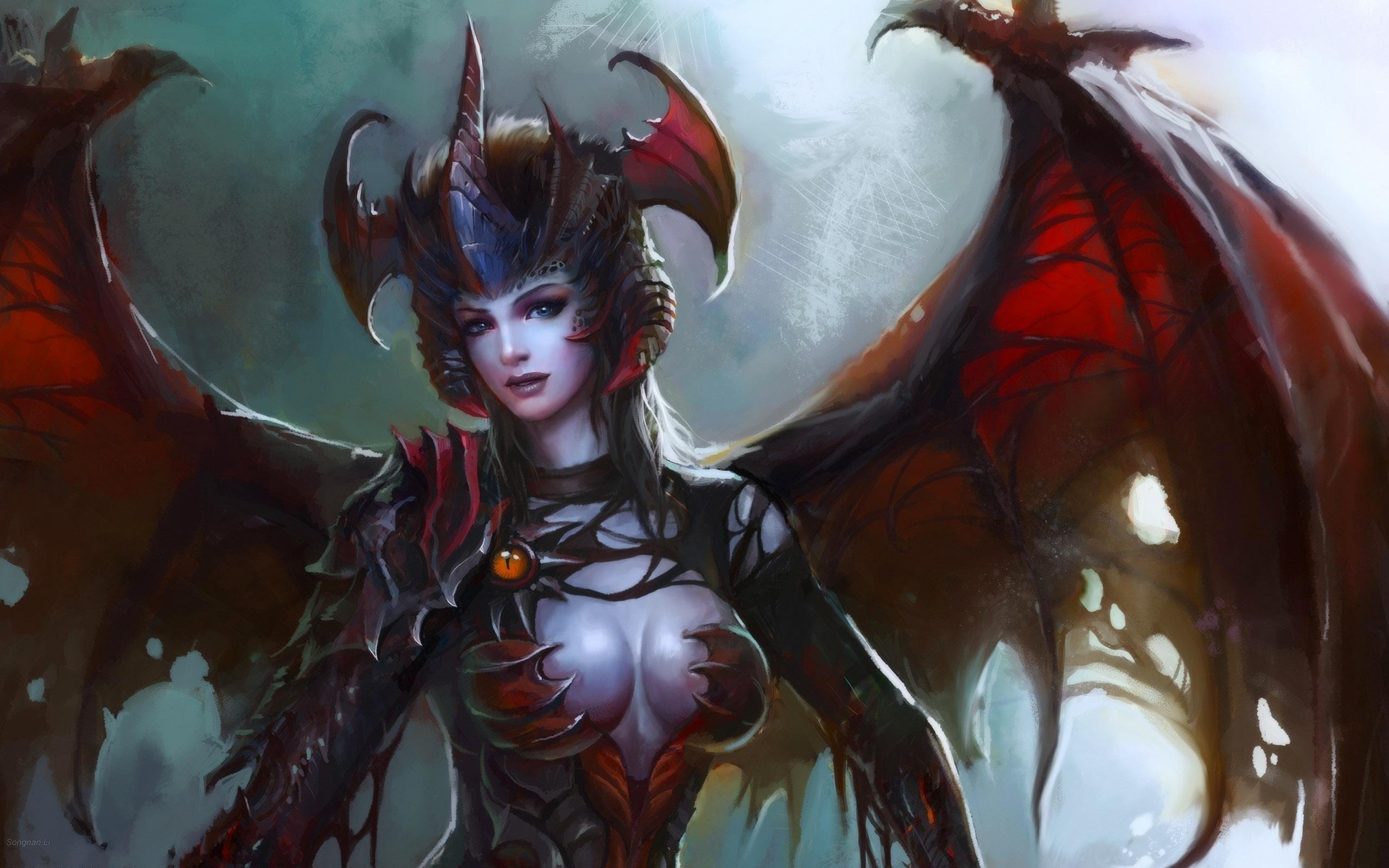 Wings succubus horns armor artwork demon girl wallpaper