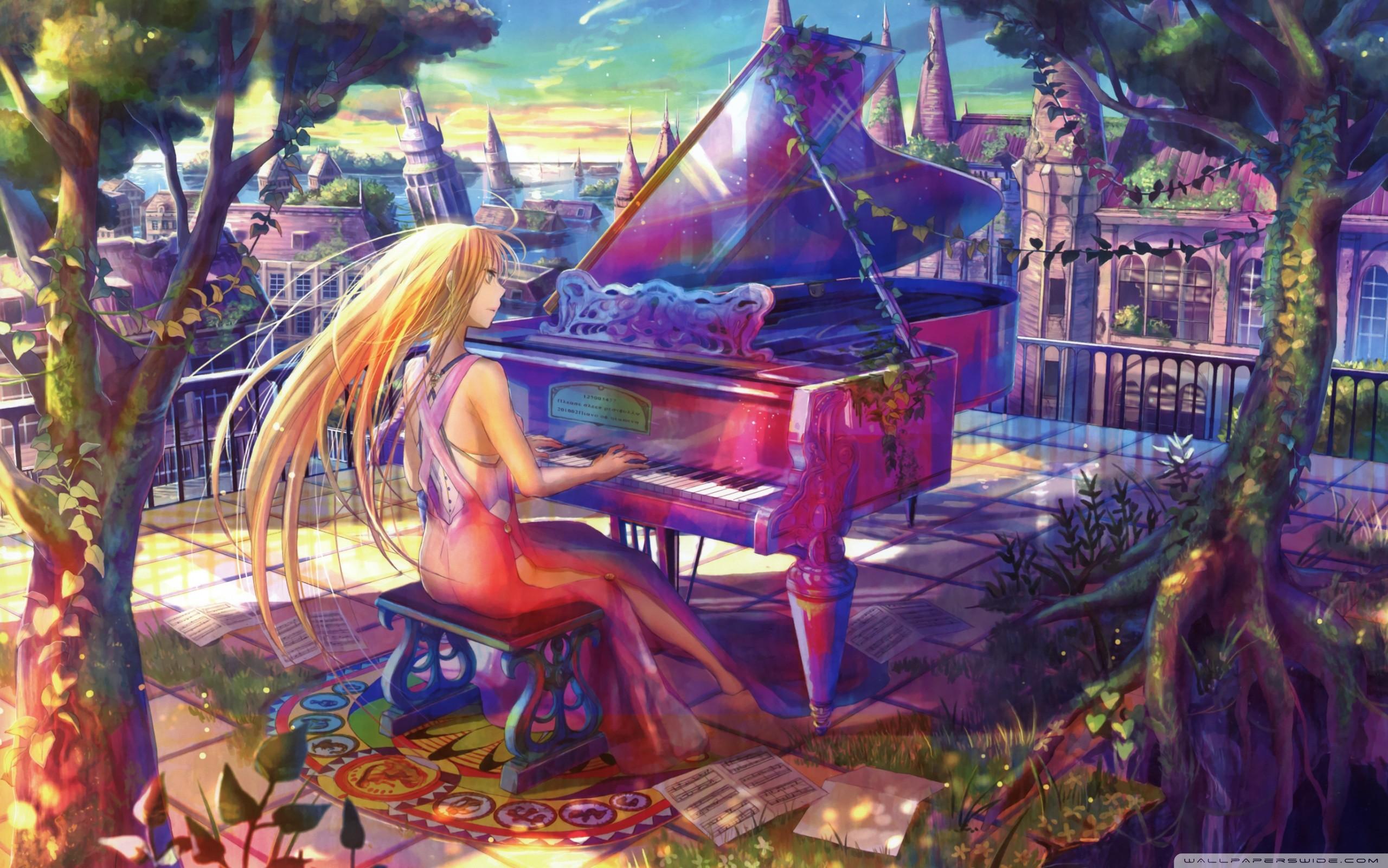 Fuji Choko Playing Piano Anime Wallpaper HD