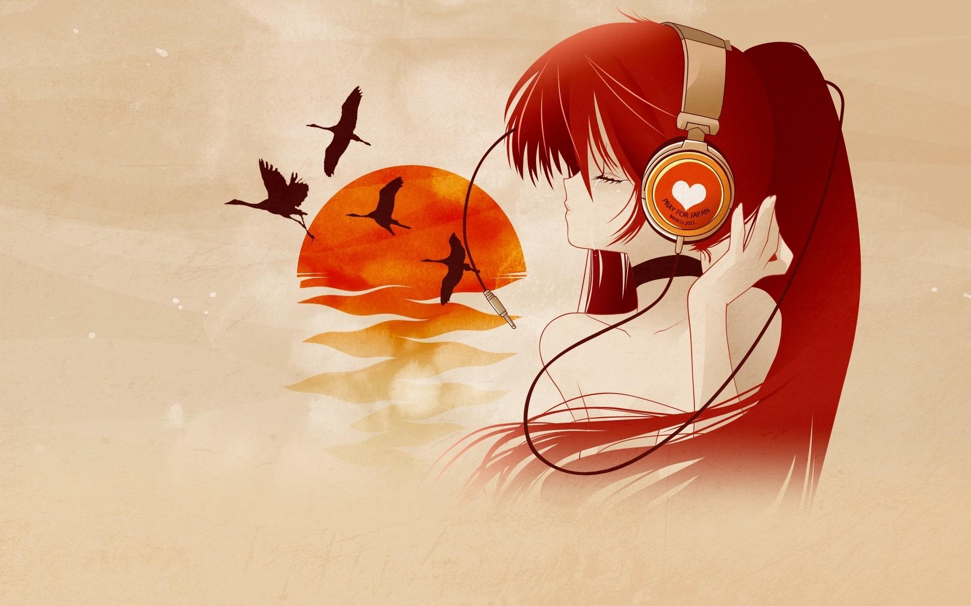 Anime Artwork Girls Headphones