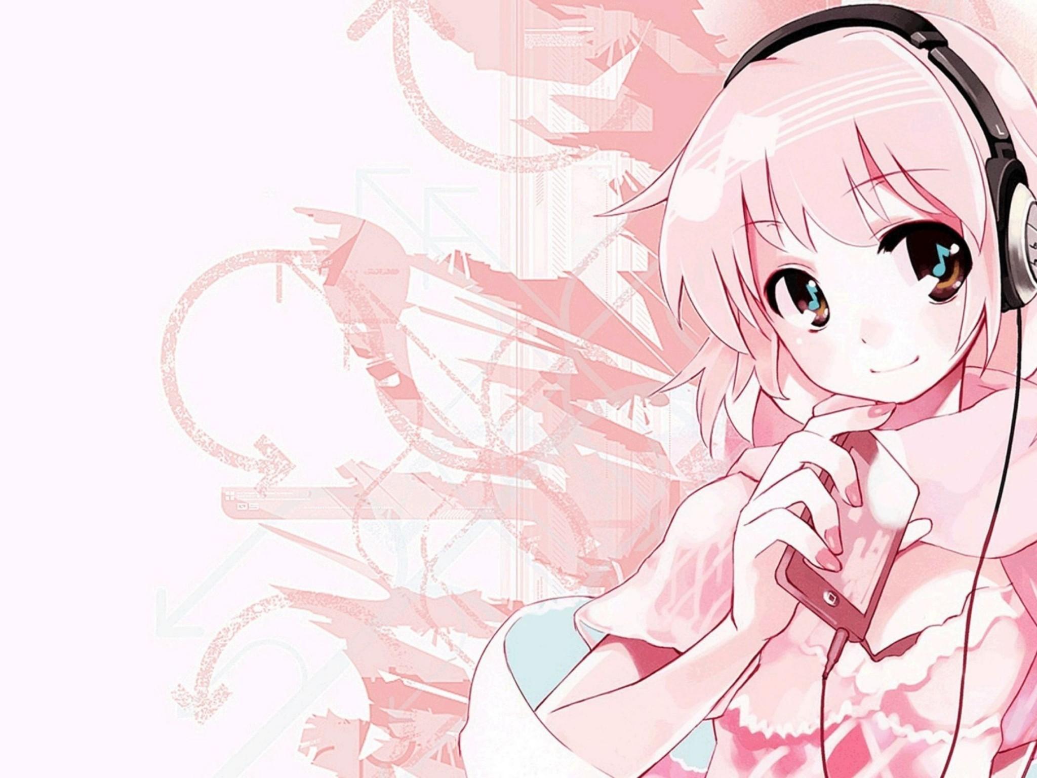 Pink Anime Music Wallpaper