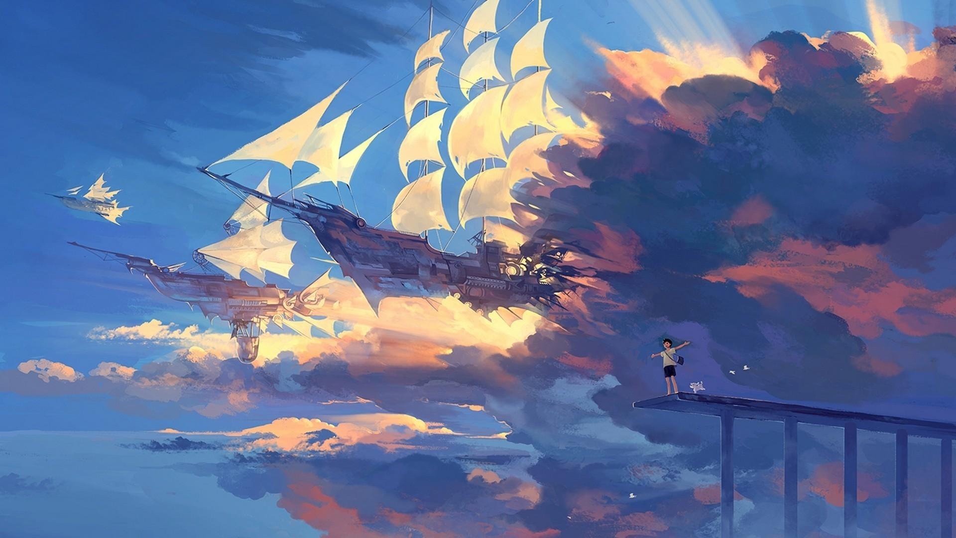Preview wallpaper hanyijie, sky, scenery, ship, anime, art 1920×1080
