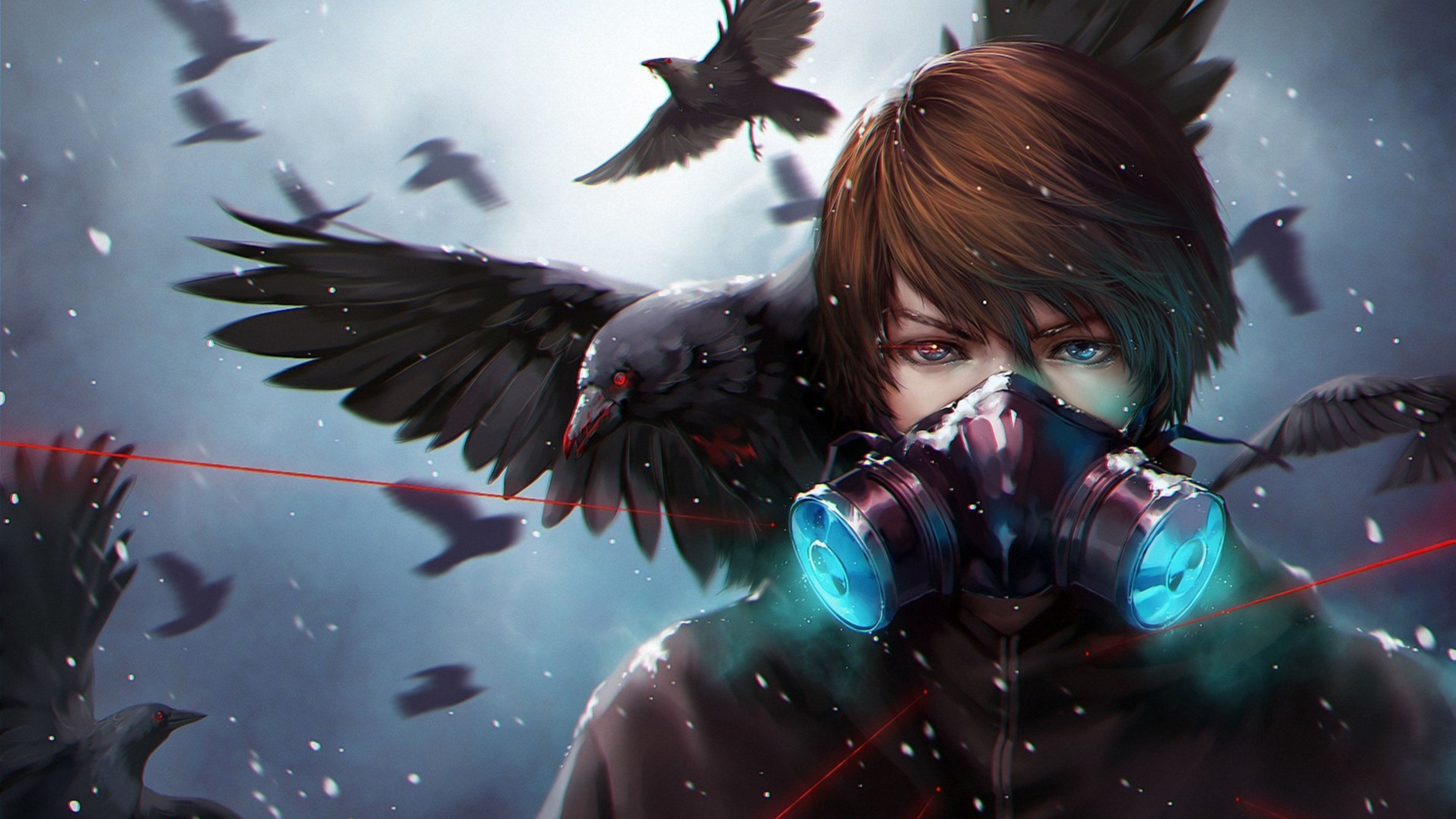Preview wallpaper anime, crow, mask 3840×2160