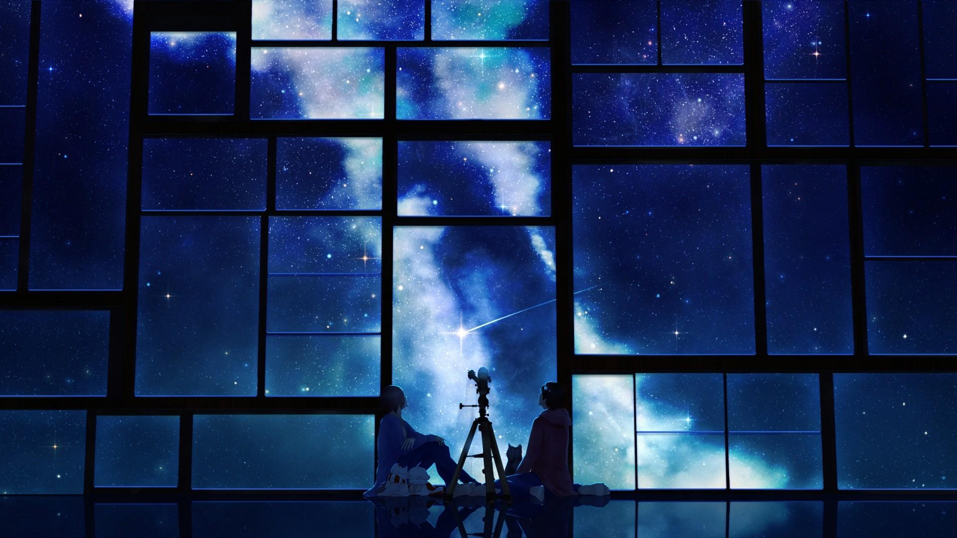 Preview wallpaper tamagosho, sky, stars, telescope, night, window 1920×1080